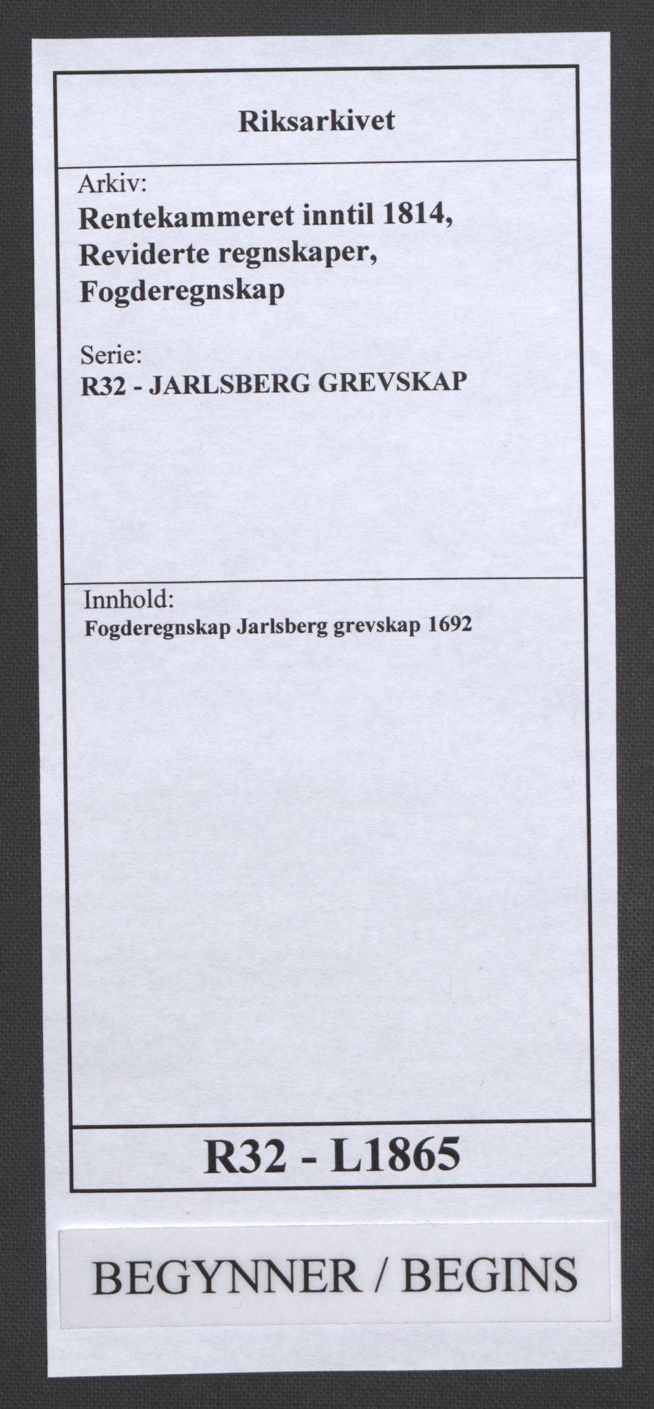 RA, Rentekammeret inntil 1814, Reviderte regnskaper, Fogderegnskap, R32/L1865: Fogderegnskap Jarlsberg grevskap, 1692, s. 1