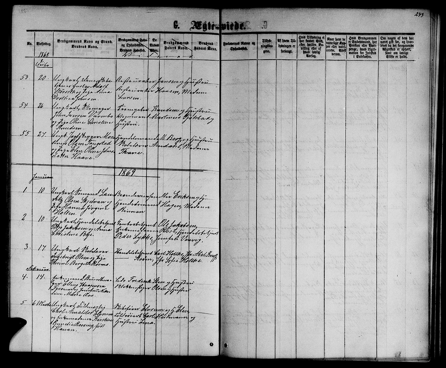 SAT, Ministerialprotokoller, klokkerbøker og fødselsregistre - Sør-Trøndelag, 601/L0087: Klokkerbok nr. 601C05, 1864-1881, s. 243