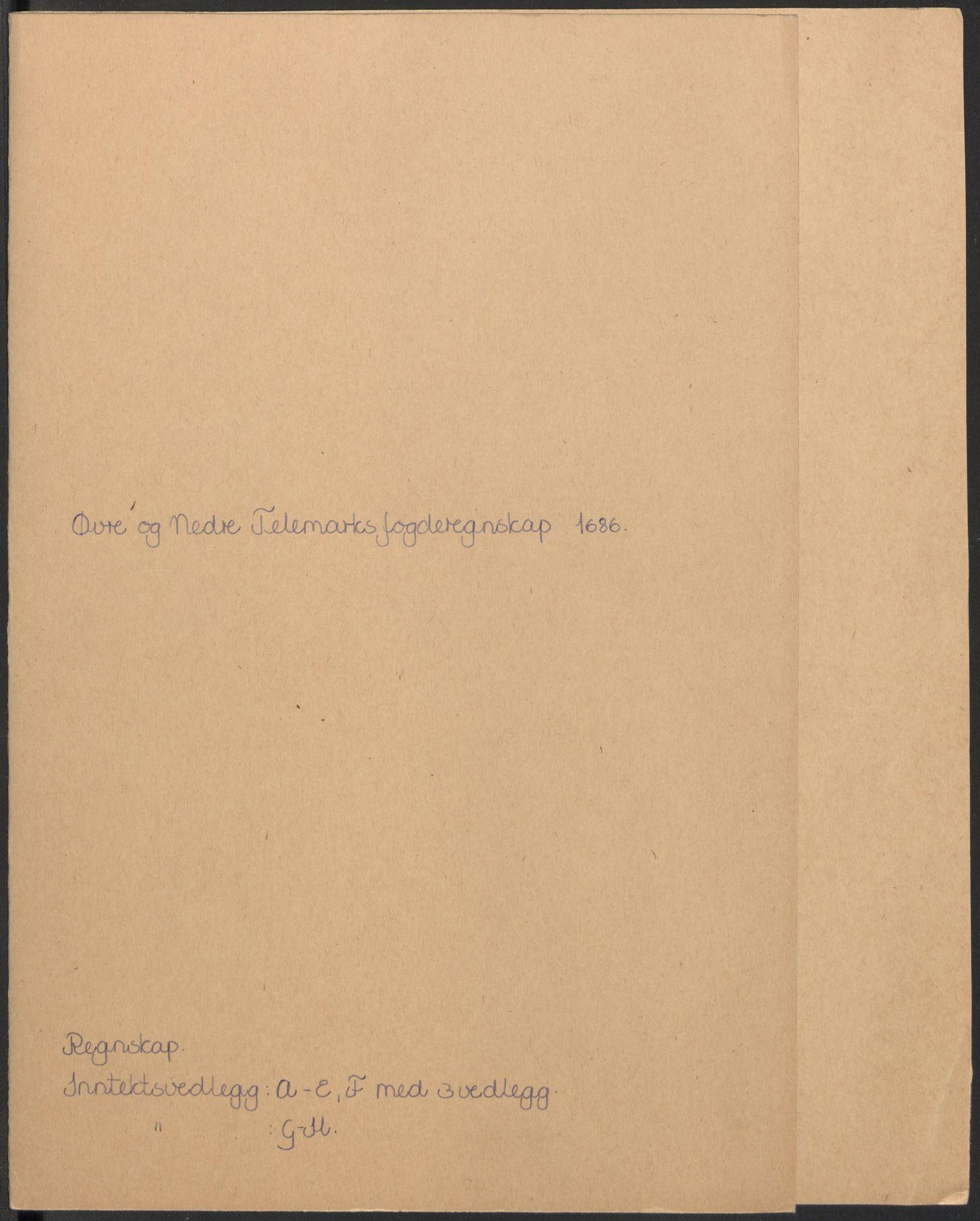 RA, Rentekammeret inntil 1814, Reviderte regnskaper, Fogderegnskap, R35/L2083: Fogderegnskap Øvre og Nedre Telemark, 1686, s. 2