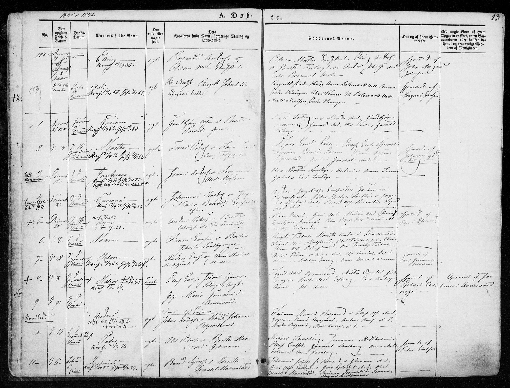 SAT, Ministerialprotokoller, klokkerbøker og fødselsregistre - Nord-Trøndelag, 723/L0239: Ministerialbok nr. 723A08, 1841-1851, s. 13