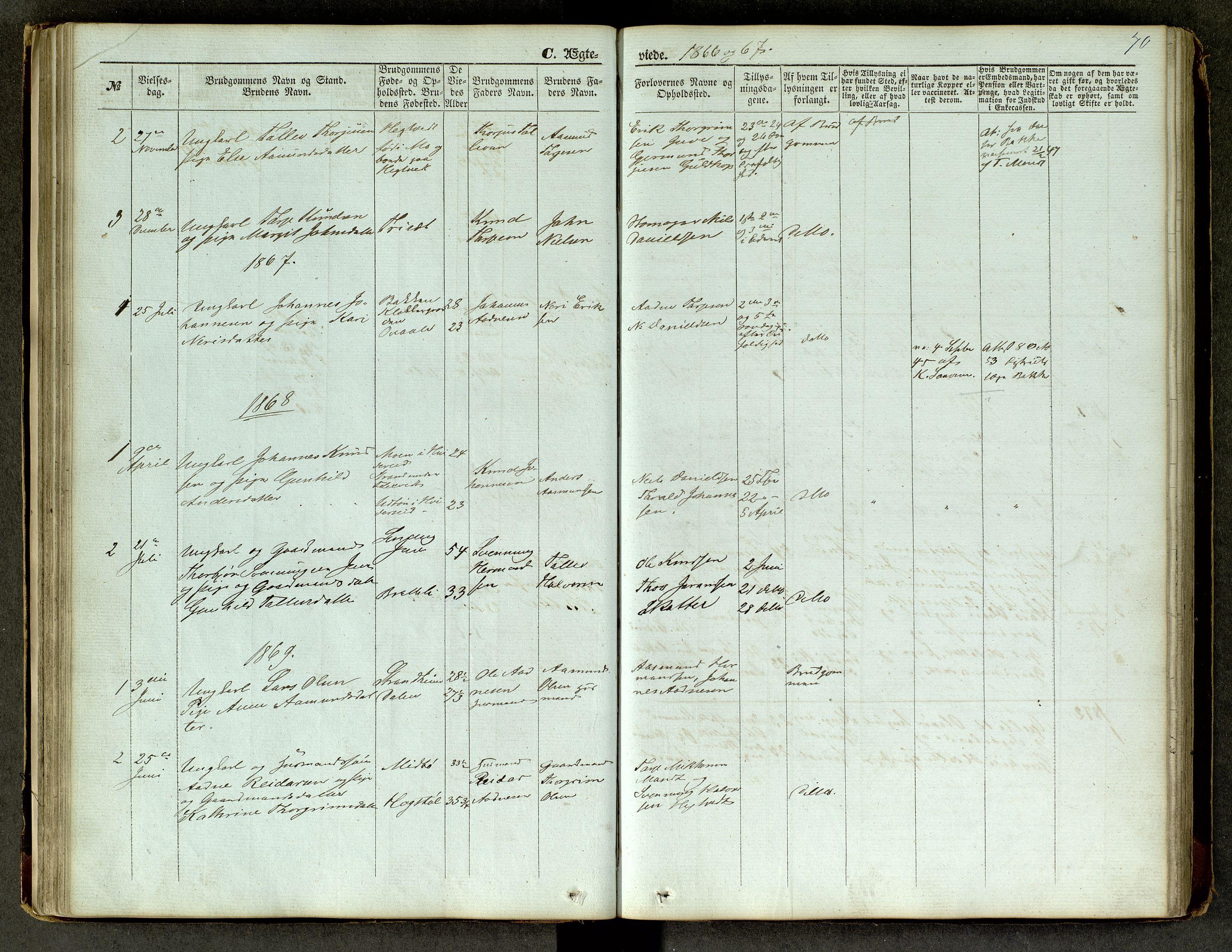 SAKO, Lårdal kirkebøker, G/Ga/L0002: Klokkerbok nr. I 2, 1861-1890, s. 70