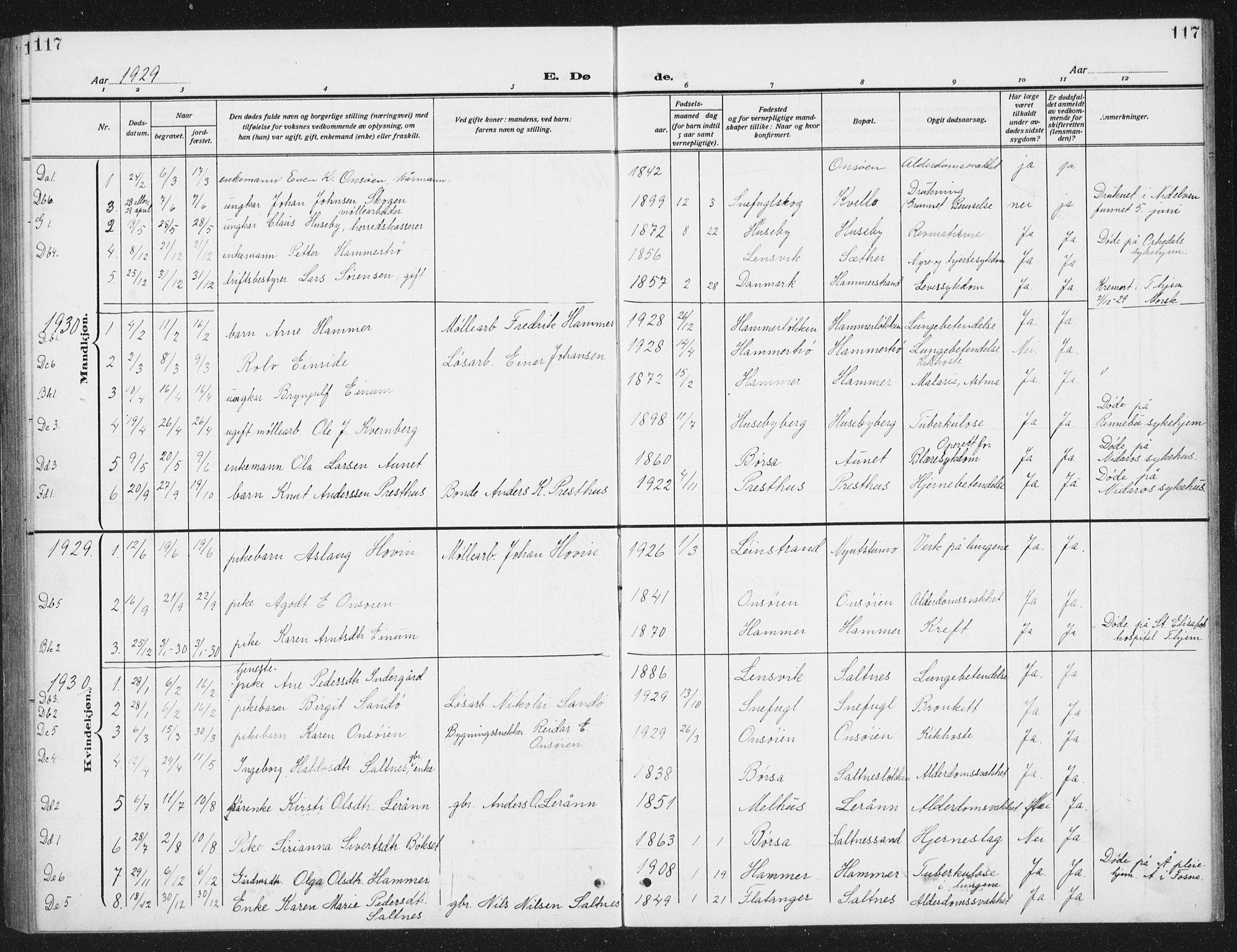 SAT, Ministerialprotokoller, klokkerbøker og fødselsregistre - Sør-Trøndelag, 666/L0791: Klokkerbok nr. 666C04, 1909-1939, s. 117