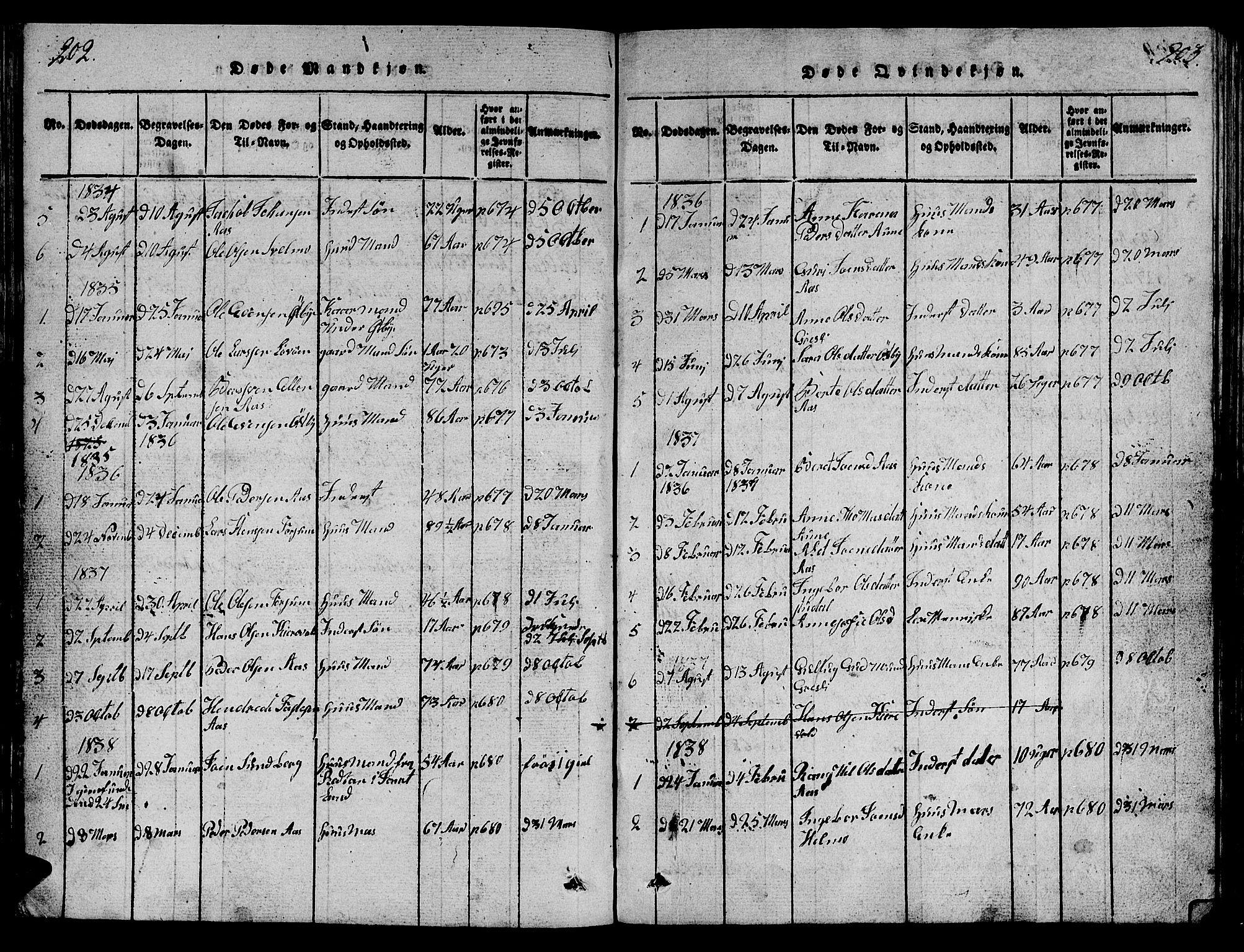 SAT, Ministerialprotokoller, klokkerbøker og fødselsregistre - Sør-Trøndelag, 698/L1164: Klokkerbok nr. 698C01, 1816-1861, s. 202-203