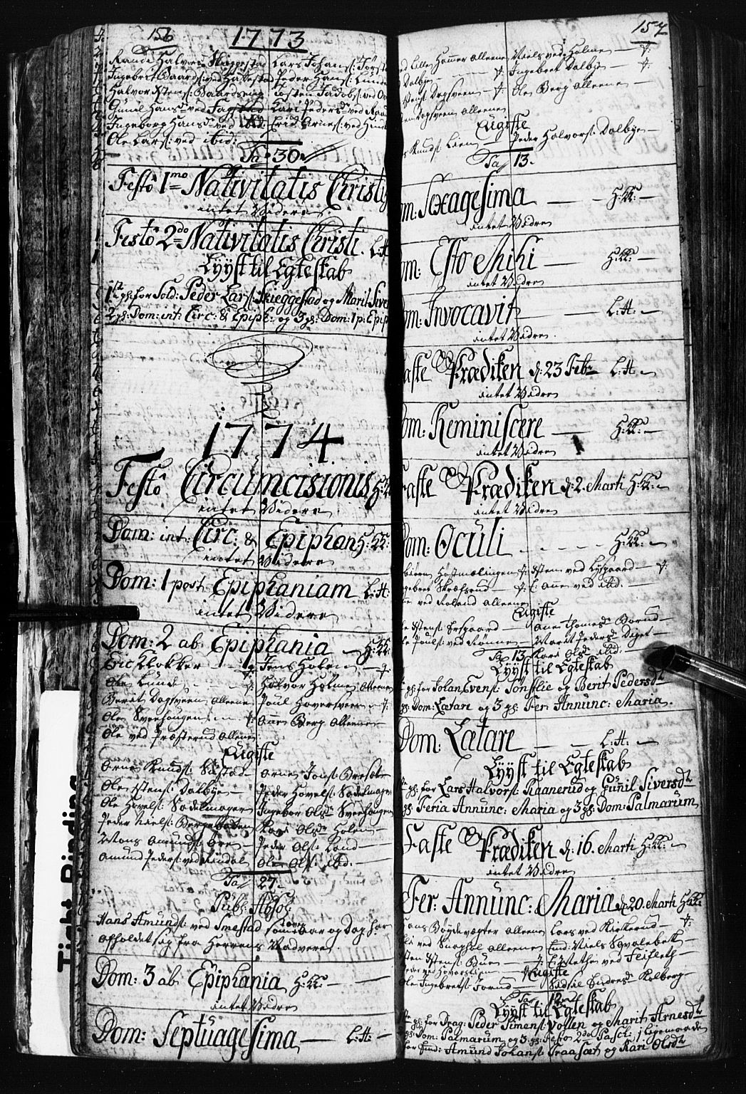 SAH, Fåberg prestekontor, Klokkerbok nr. 3, 1768-1796, s. 156-157