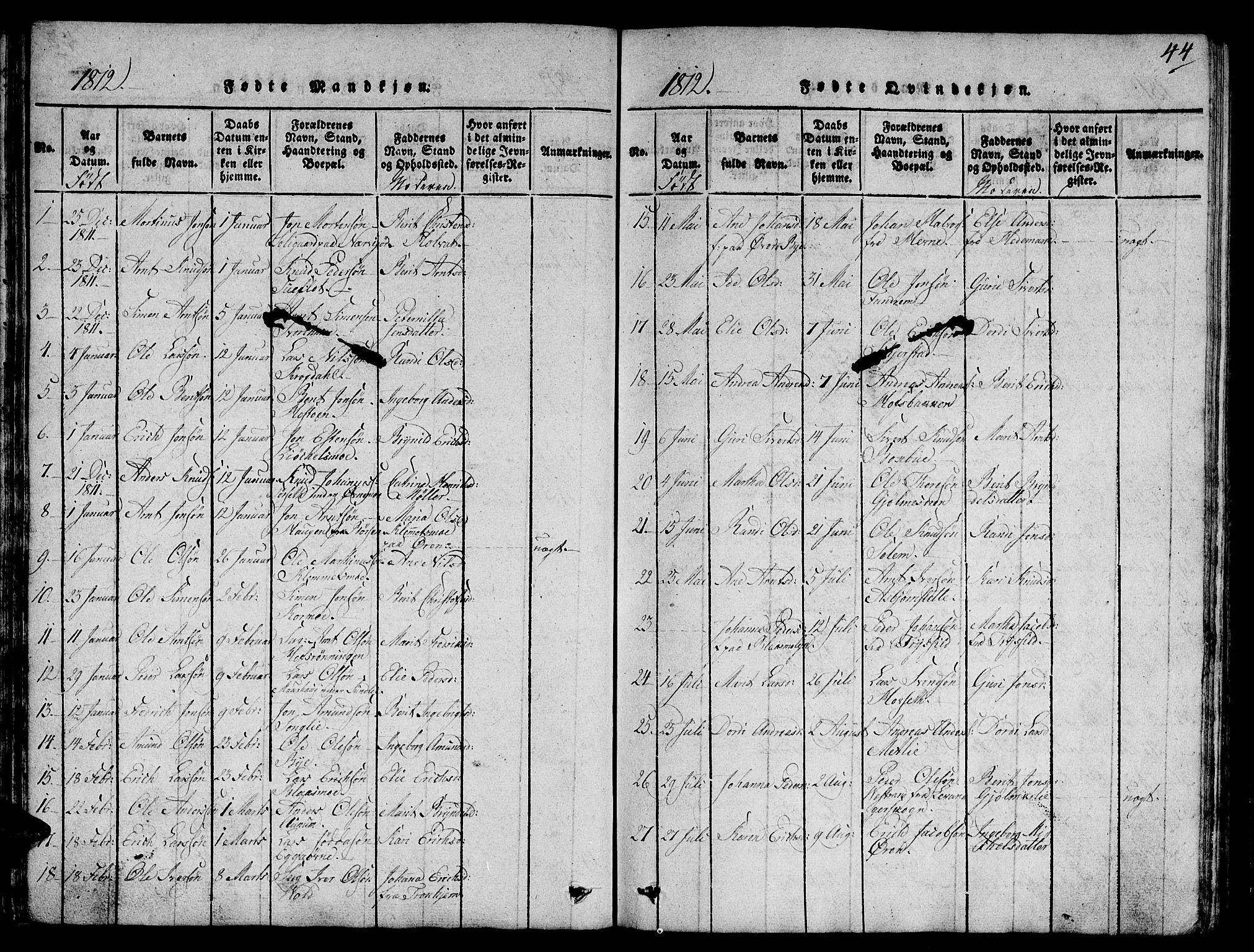 SAT, Ministerialprotokoller, klokkerbøker og fødselsregistre - Sør-Trøndelag, 668/L0803: Ministerialbok nr. 668A03, 1800-1826, s. 44