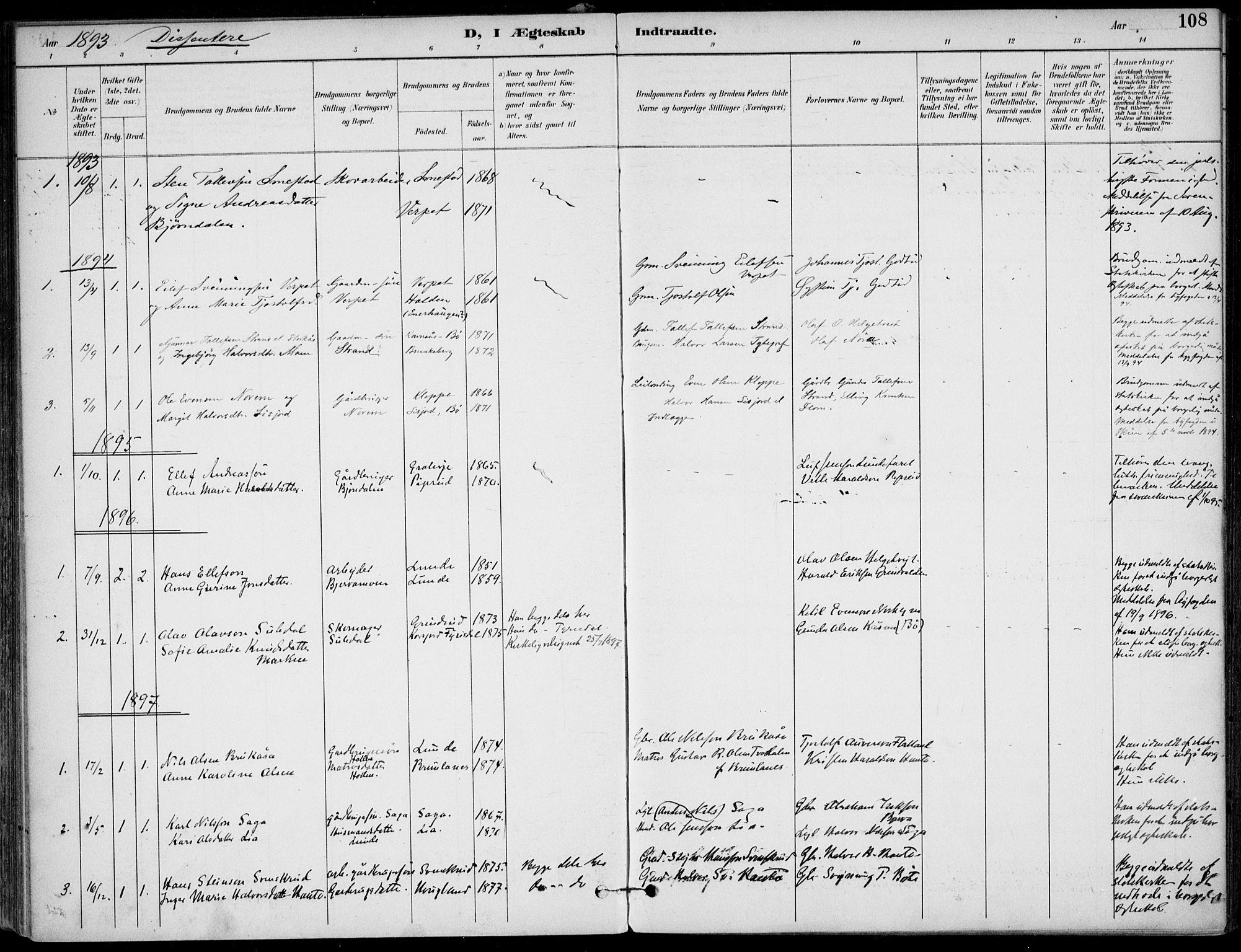 SAKO, Lunde kirkebøker, F/Fa/L0003: Ministerialbok nr. I 3, 1893-1902, s. 108