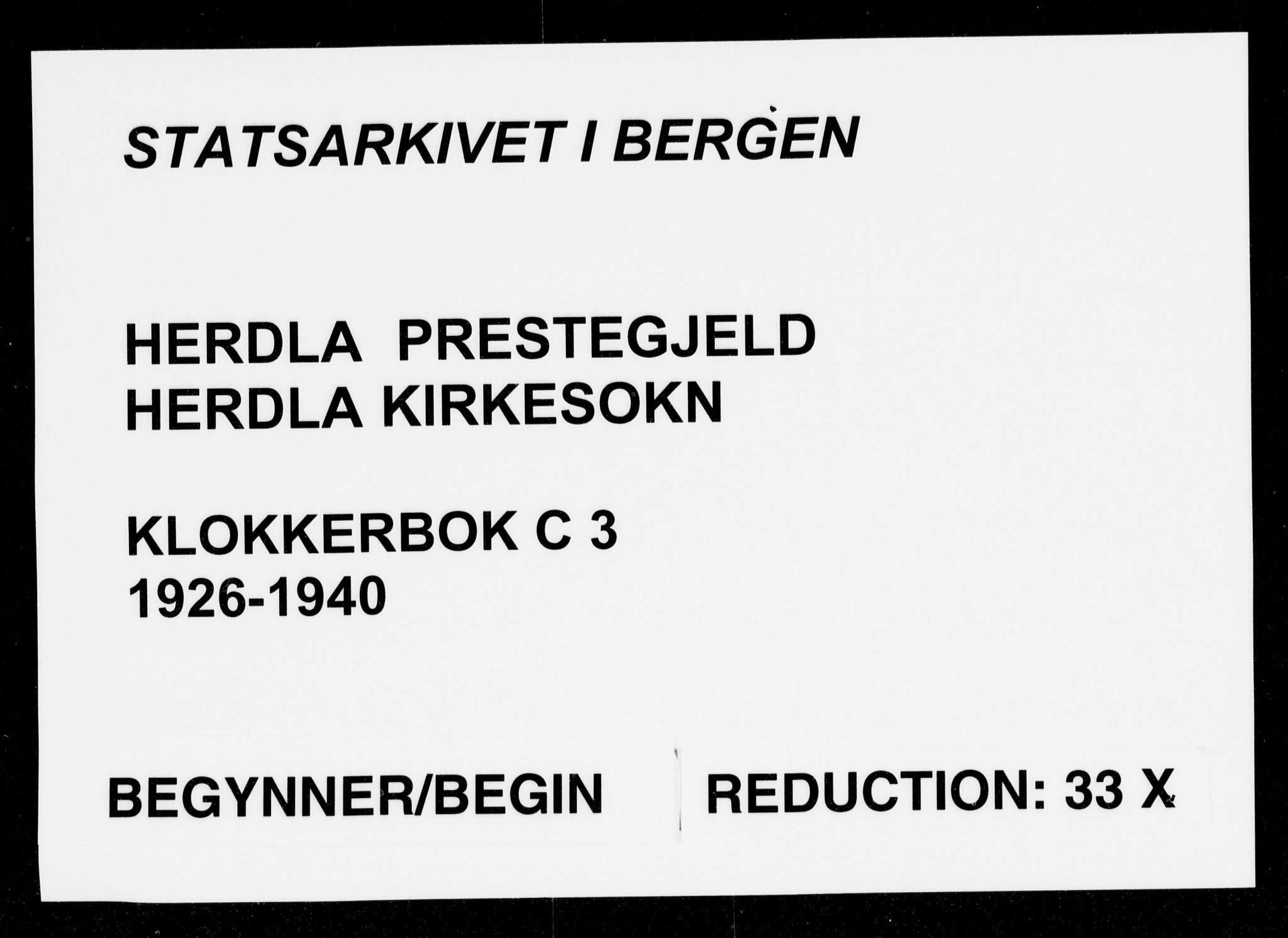 SAB, Herdla Sokneprestembete, H/Hab: Klokkerbok nr. C 3, 1926-1940