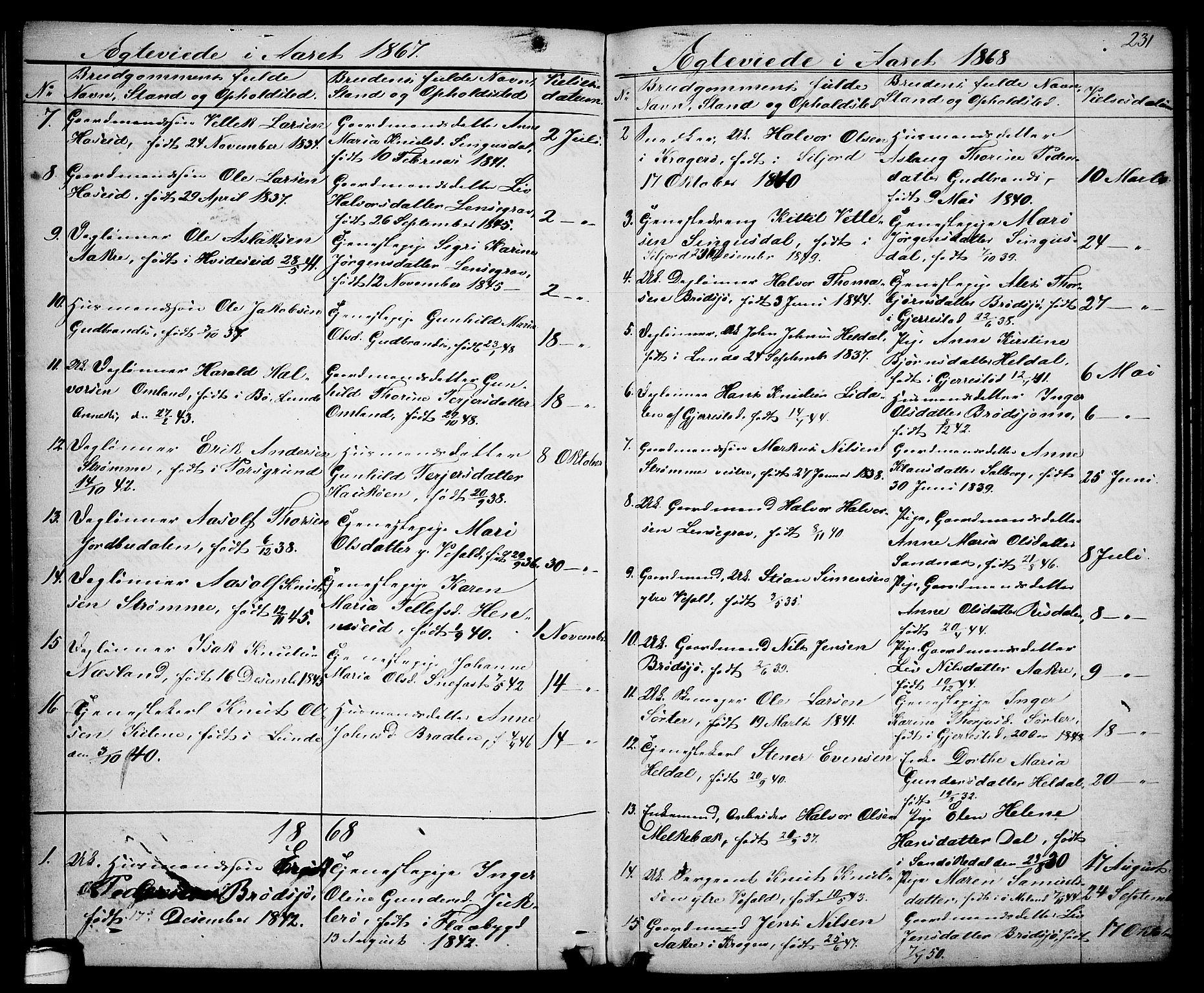 SAKO, Drangedal kirkebøker, G/Ga/L0002: Klokkerbok nr. I 2, 1856-1887, s. 231