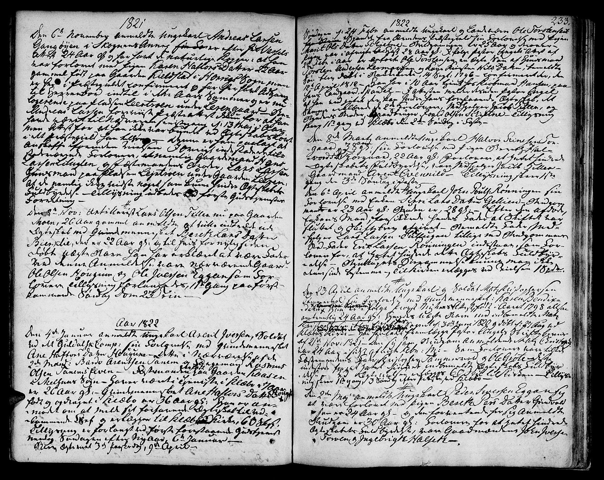 SAT, Ministerialprotokoller, klokkerbøker og fødselsregistre - Sør-Trøndelag, 618/L0438: Ministerialbok nr. 618A03, 1783-1815, s. 233