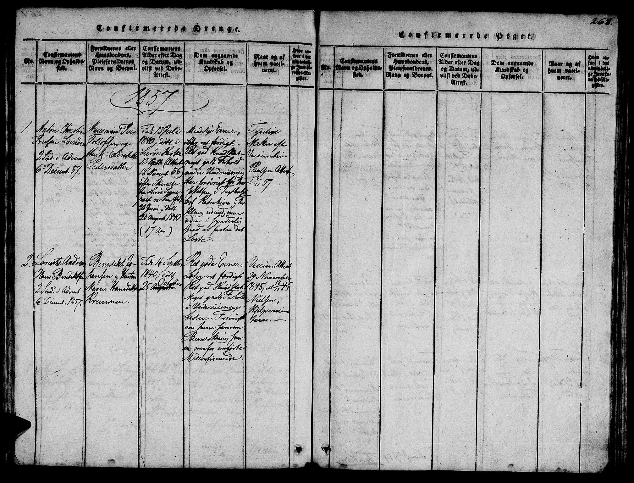 SAT, Ministerialprotokoller, klokkerbøker og fødselsregistre - Sør-Trøndelag, 623/L0478: Klokkerbok nr. 623C01, 1815-1873, s. 268