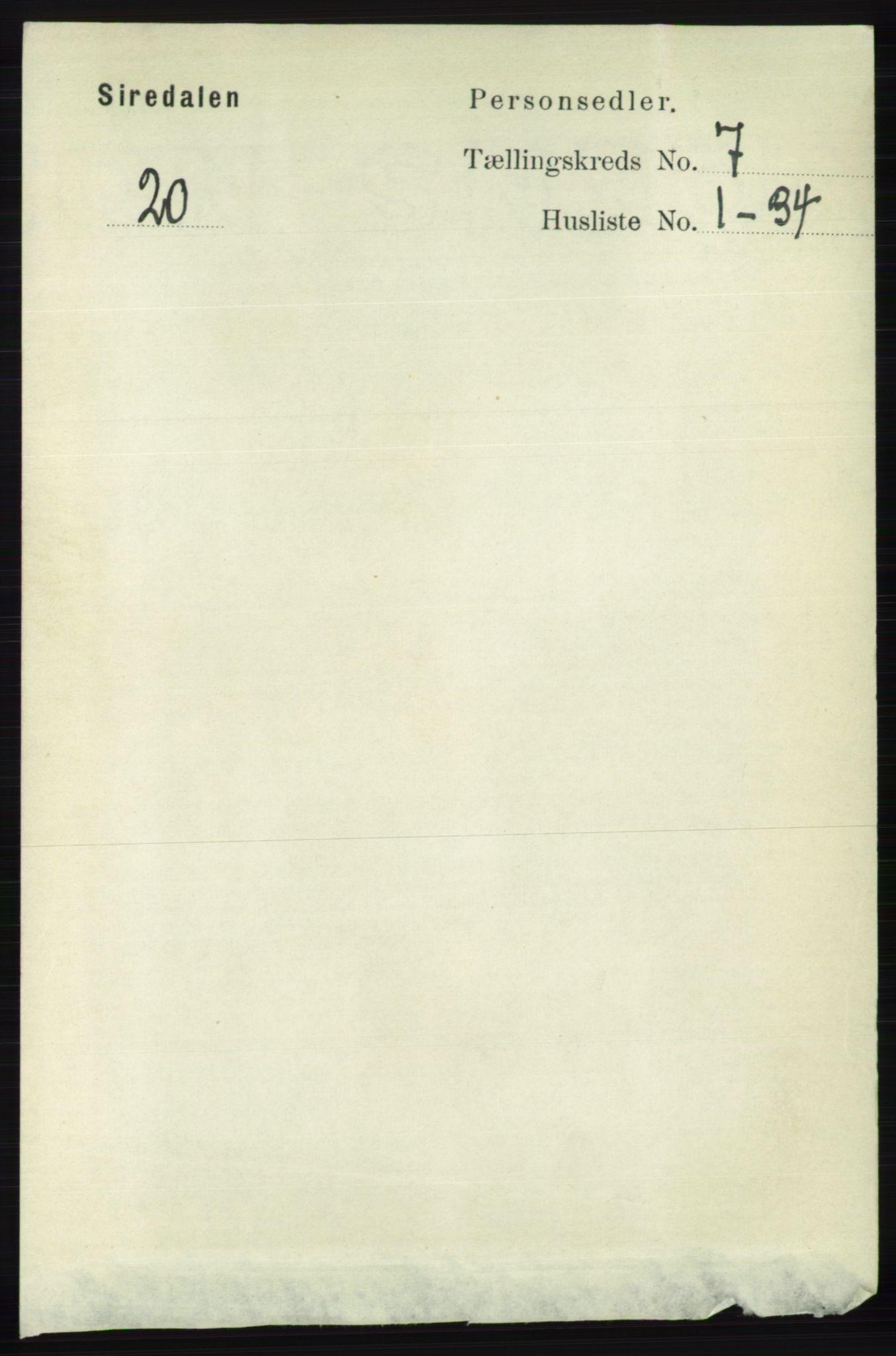 RA, Folketelling 1891 for 1046 Sirdal herred, 1891, s. 1952