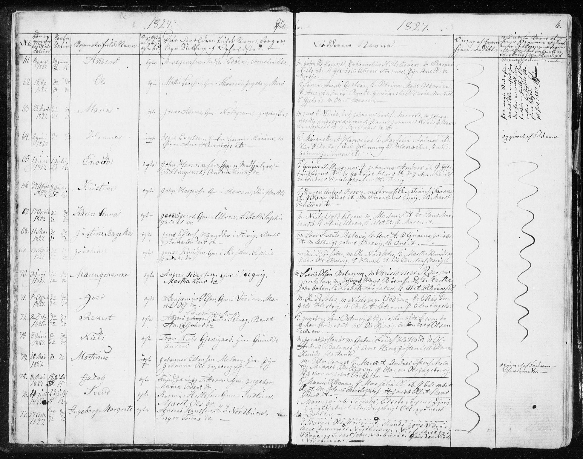 SAT, Ministerialprotokoller, klokkerbøker og fødselsregistre - Sør-Trøndelag, 634/L0528: Ministerialbok nr. 634A04, 1827-1842, s. 6