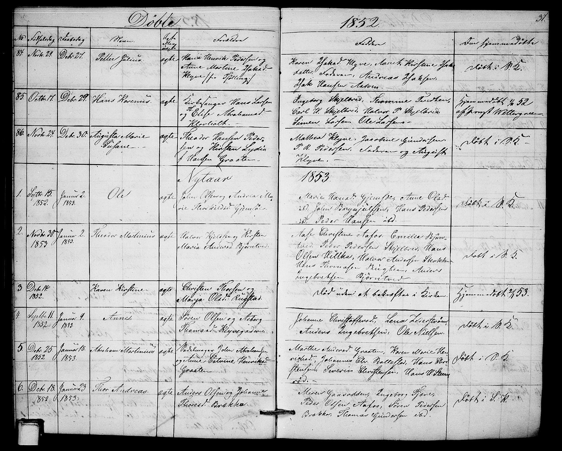 SAKO, Solum kirkebøker, G/Ga/L0003: Klokkerbok nr. I 3, 1848-1859, s. 37