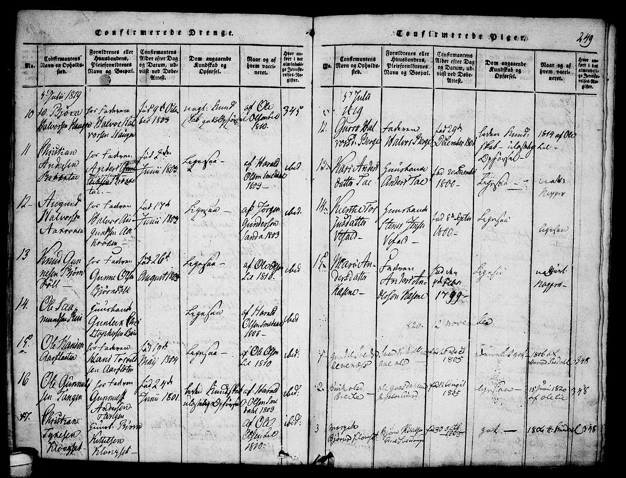 SAKO, Seljord kirkebøker, F/Fa/L0010: Ministerialbok nr. I 10, 1815-1831, s. 249