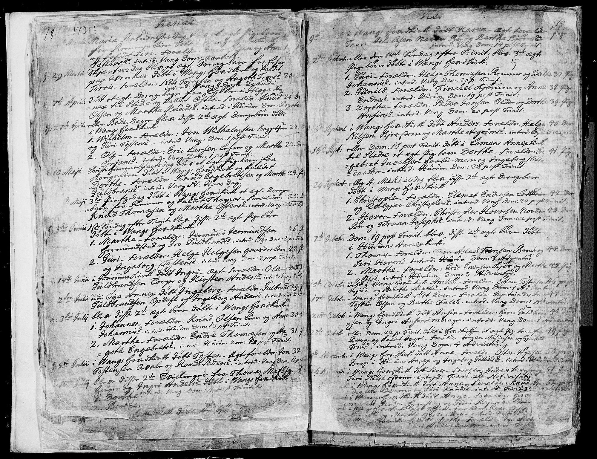 SAH, Vang prestekontor, Valdres, Ministerialbok nr. 1, 1730-1796, s. 18-19