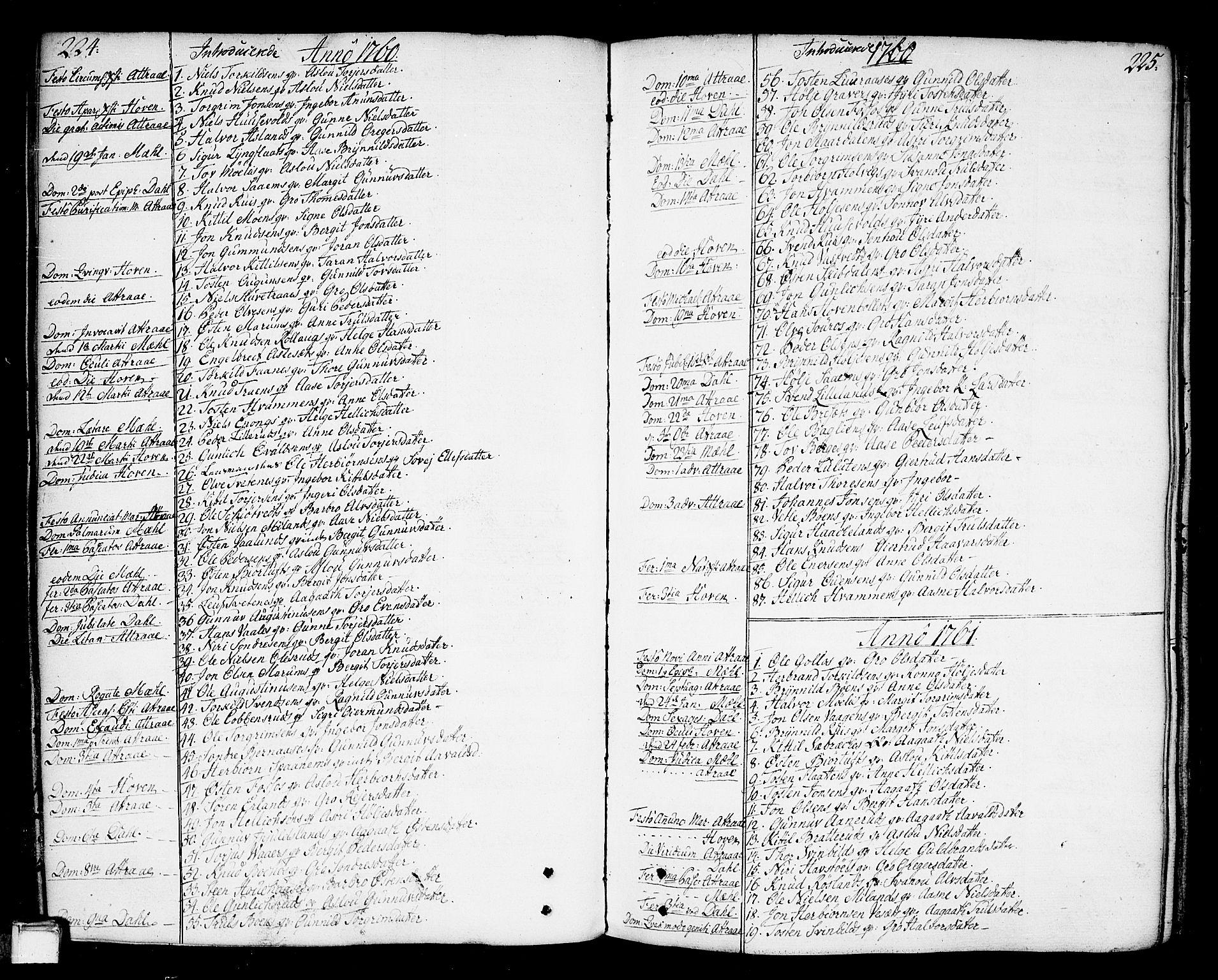 SAKO, Tinn kirkebøker, F/Fa/L0002: Ministerialbok nr. I 2, 1757-1810, s. 224-225