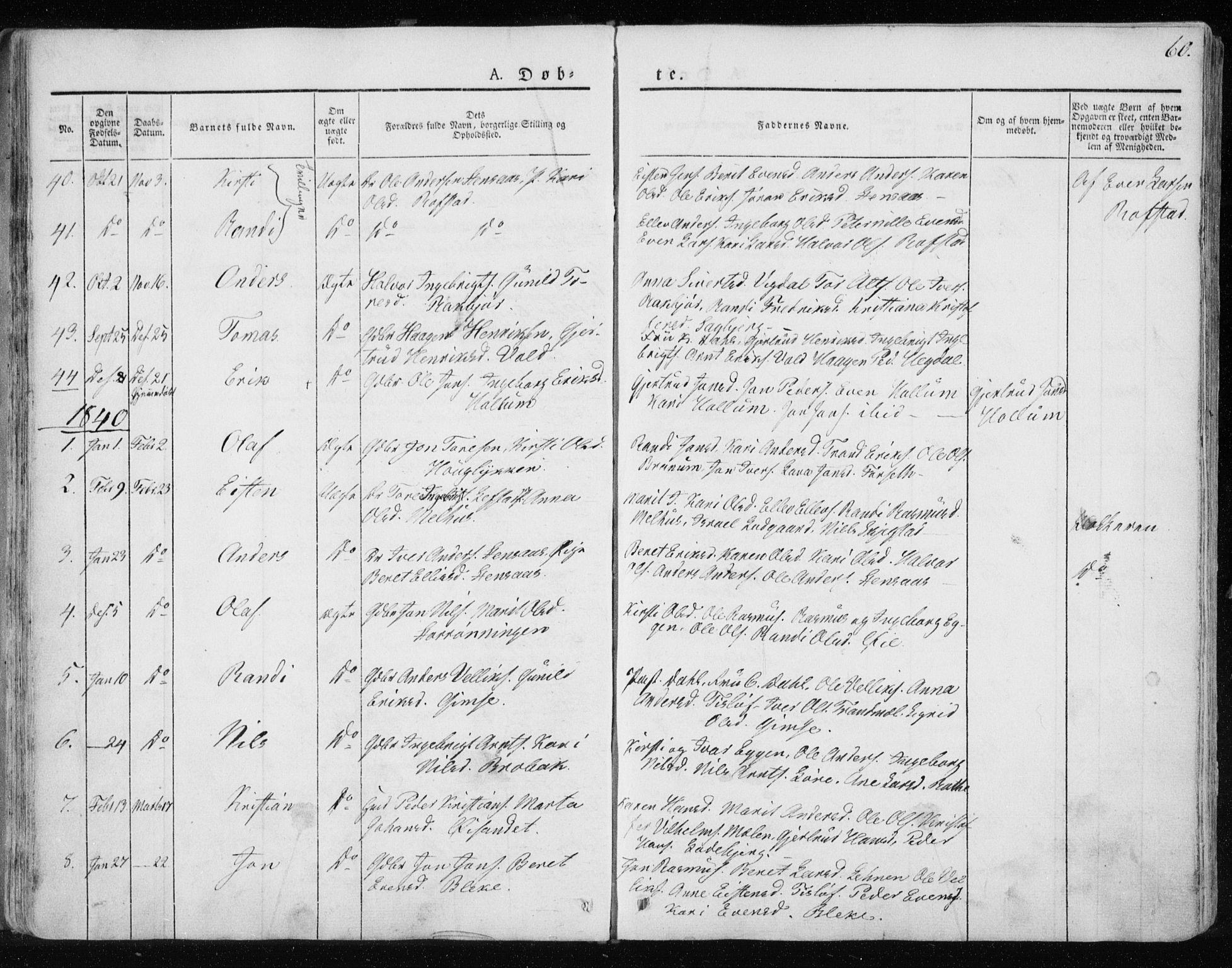 SAT, Ministerialprotokoller, klokkerbøker og fødselsregistre - Sør-Trøndelag, 691/L1069: Ministerialbok nr. 691A04, 1826-1841, s. 60