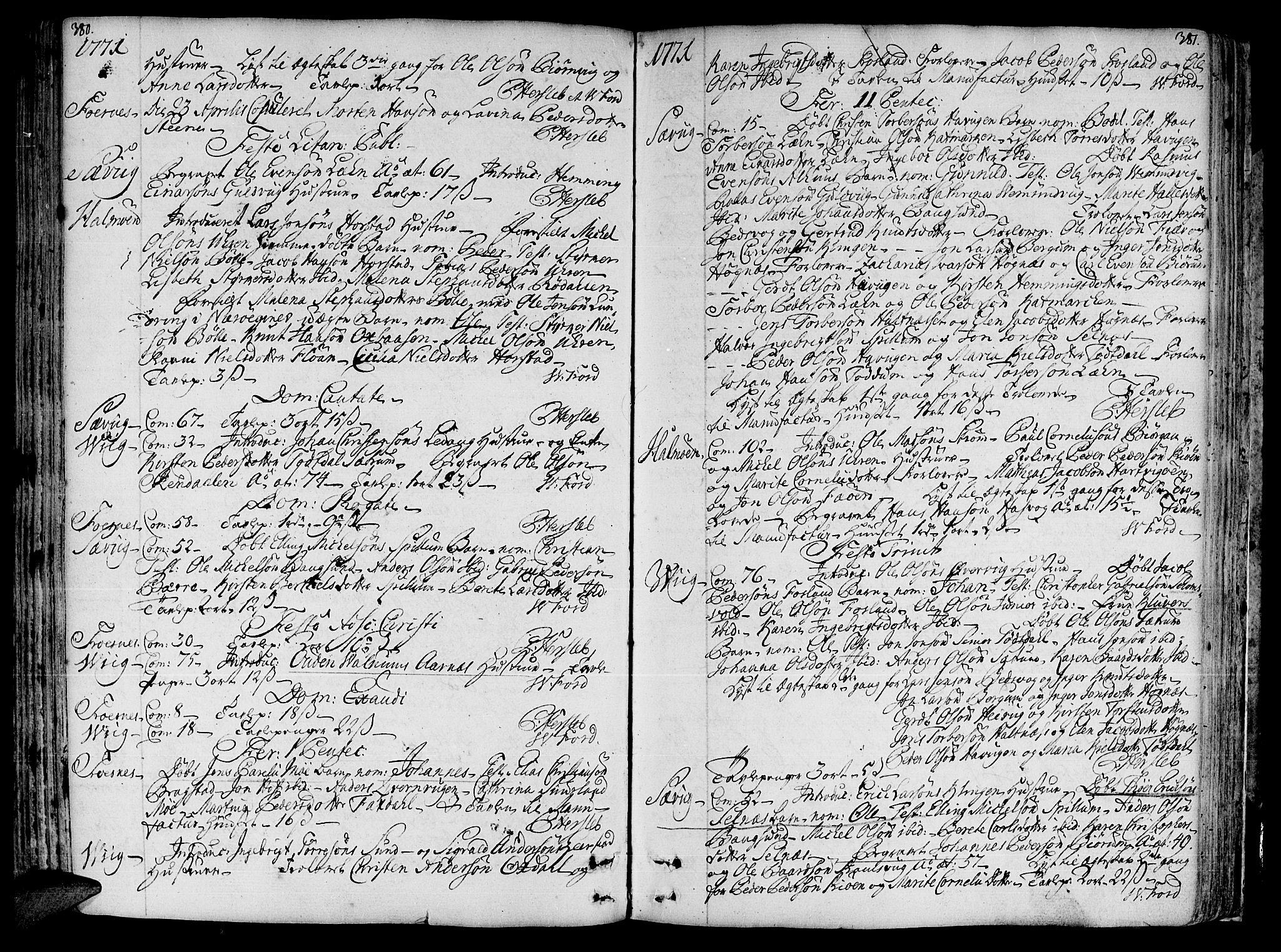 SAT, Ministerialprotokoller, klokkerbøker og fødselsregistre - Nord-Trøndelag, 773/L0607: Ministerialbok nr. 773A01, 1751-1783, s. 380-381