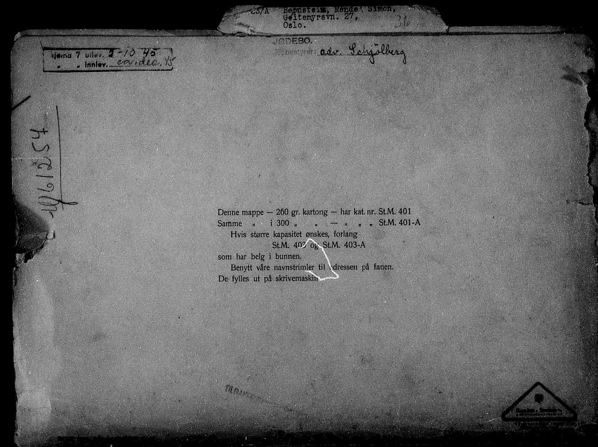 RA, Justisdepartementet, Tilbakeføringskontoret for inndratte formuer, H/Hc/Hcc/L0923: --, 1945-1947, s. 2