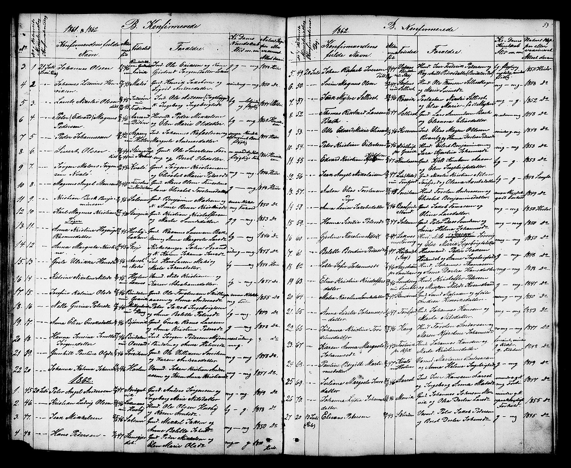 SAT, Ministerialprotokoller, klokkerbøker og fødselsregistre - Nord-Trøndelag, 788/L0695: Ministerialbok nr. 788A02, 1843-1862, s. 53