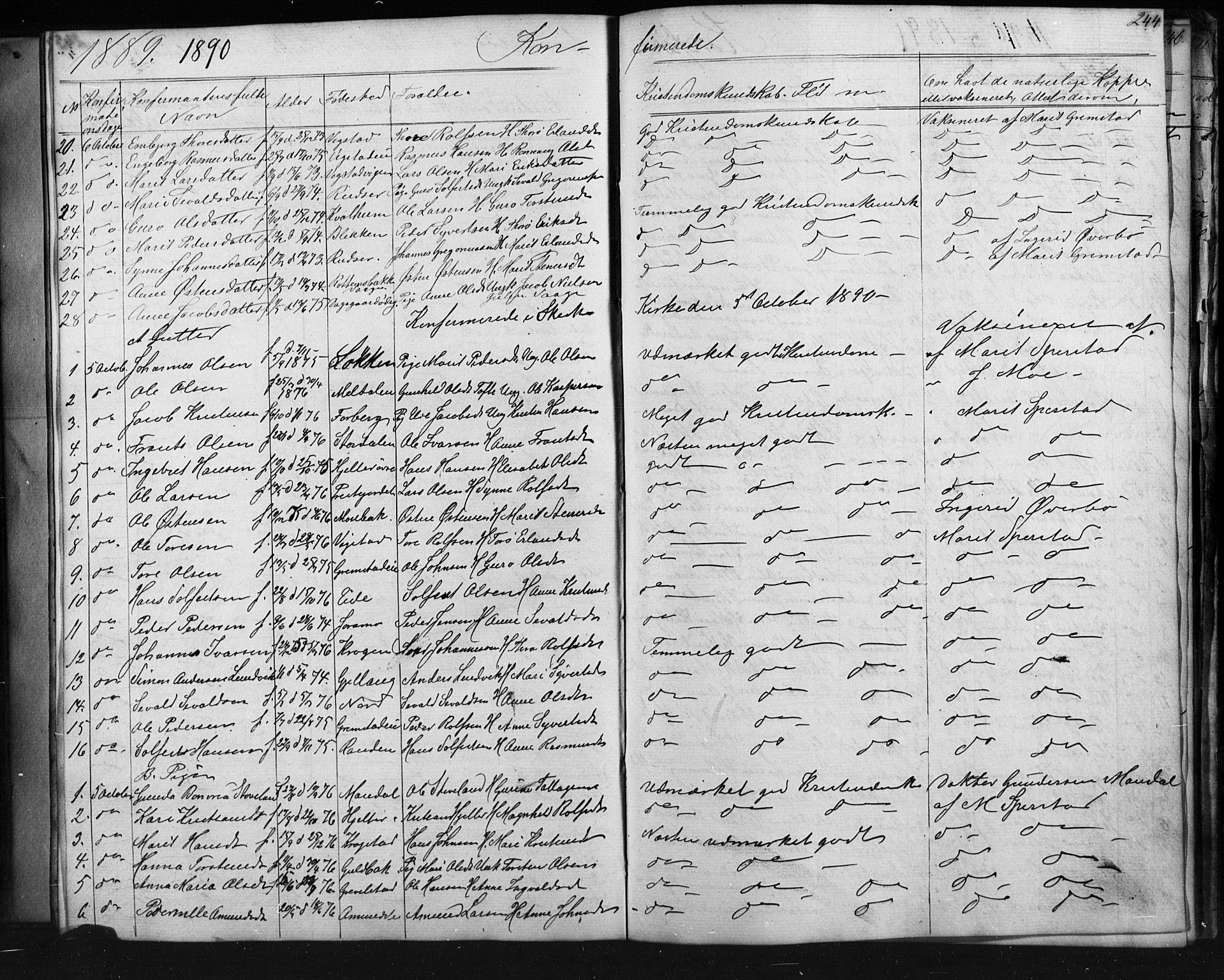 SAH, Skjåk prestekontor, Klokkerbok nr. 1, 1865-1893, s. 244