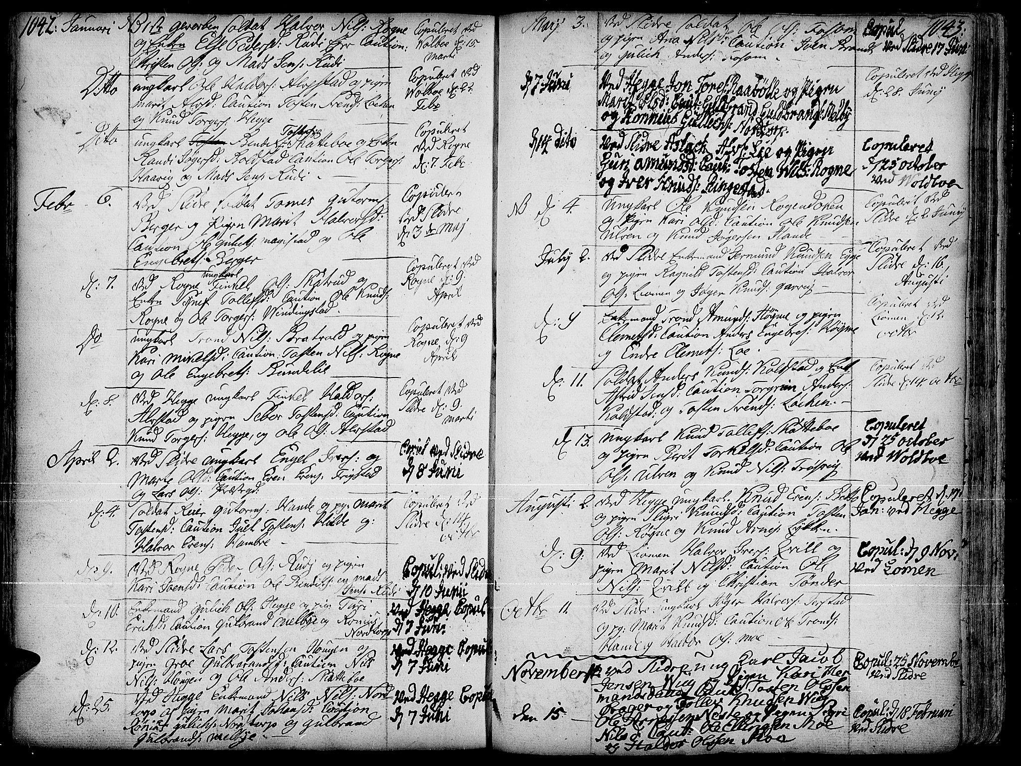 SAH, Slidre prestekontor, Ministerialbok nr. 1, 1724-1814, s. 1042-1043
