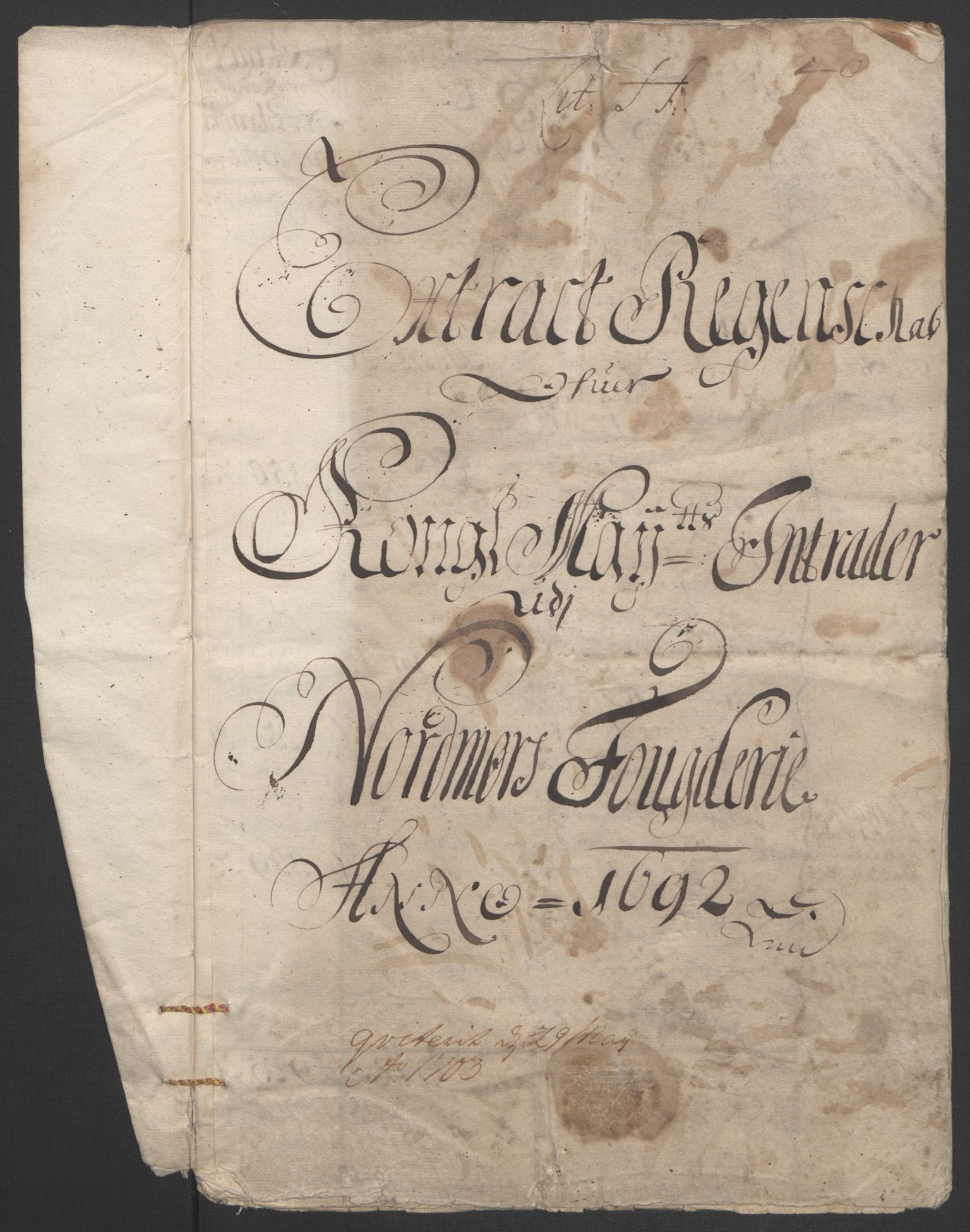 RA, Rentekammeret inntil 1814, Reviderte regnskaper, Fogderegnskap, R56/L3735: Fogderegnskap Nordmøre, 1692-1693, s. 3