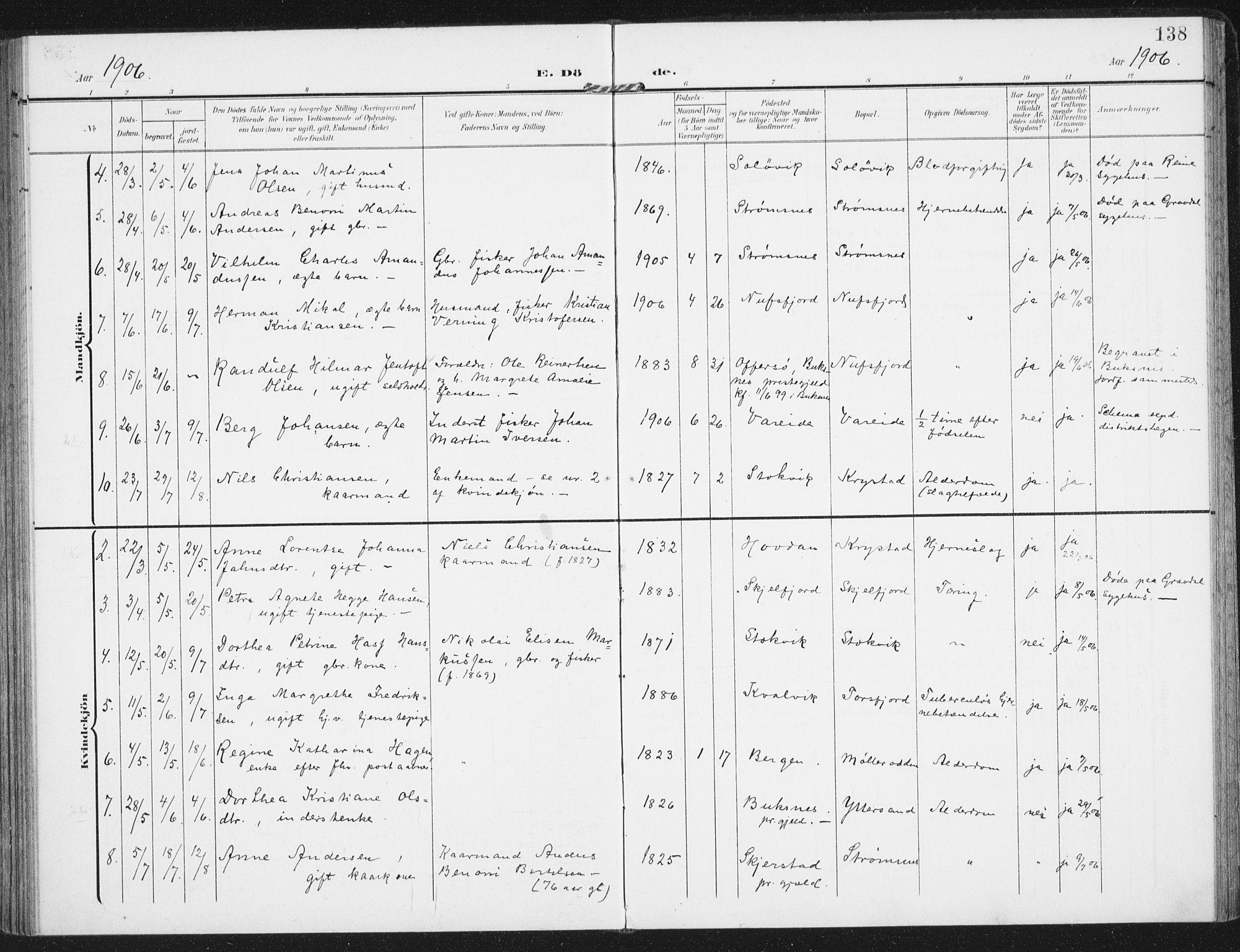 SAT, Ministerialprotokoller, klokkerbøker og fødselsregistre - Nordland, 885/L1206: Ministerialbok nr. 885A07, 1905-1915, s. 138