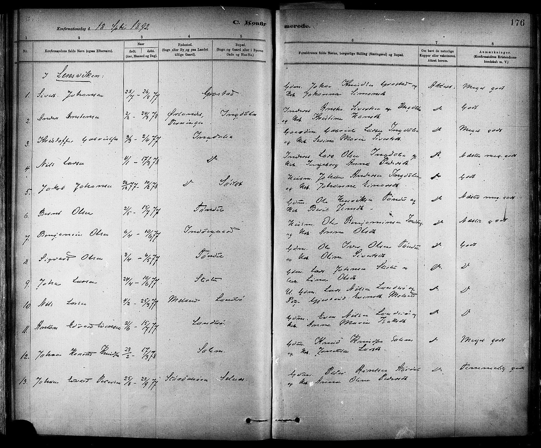 SAT, Ministerialprotokoller, klokkerbøker og fødselsregistre - Sør-Trøndelag, 647/L0634: Ministerialbok nr. 647A01, 1885-1896, s. 176