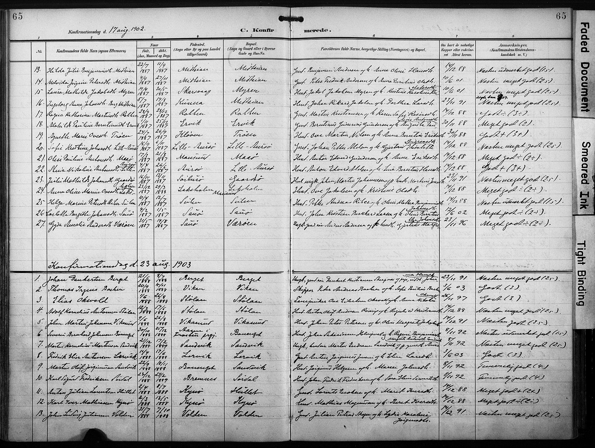 SAT, Ministerialprotokoller, klokkerbøker og fødselsregistre - Sør-Trøndelag, 640/L0580: Ministerialbok nr. 640A05, 1902-1910, s. 65