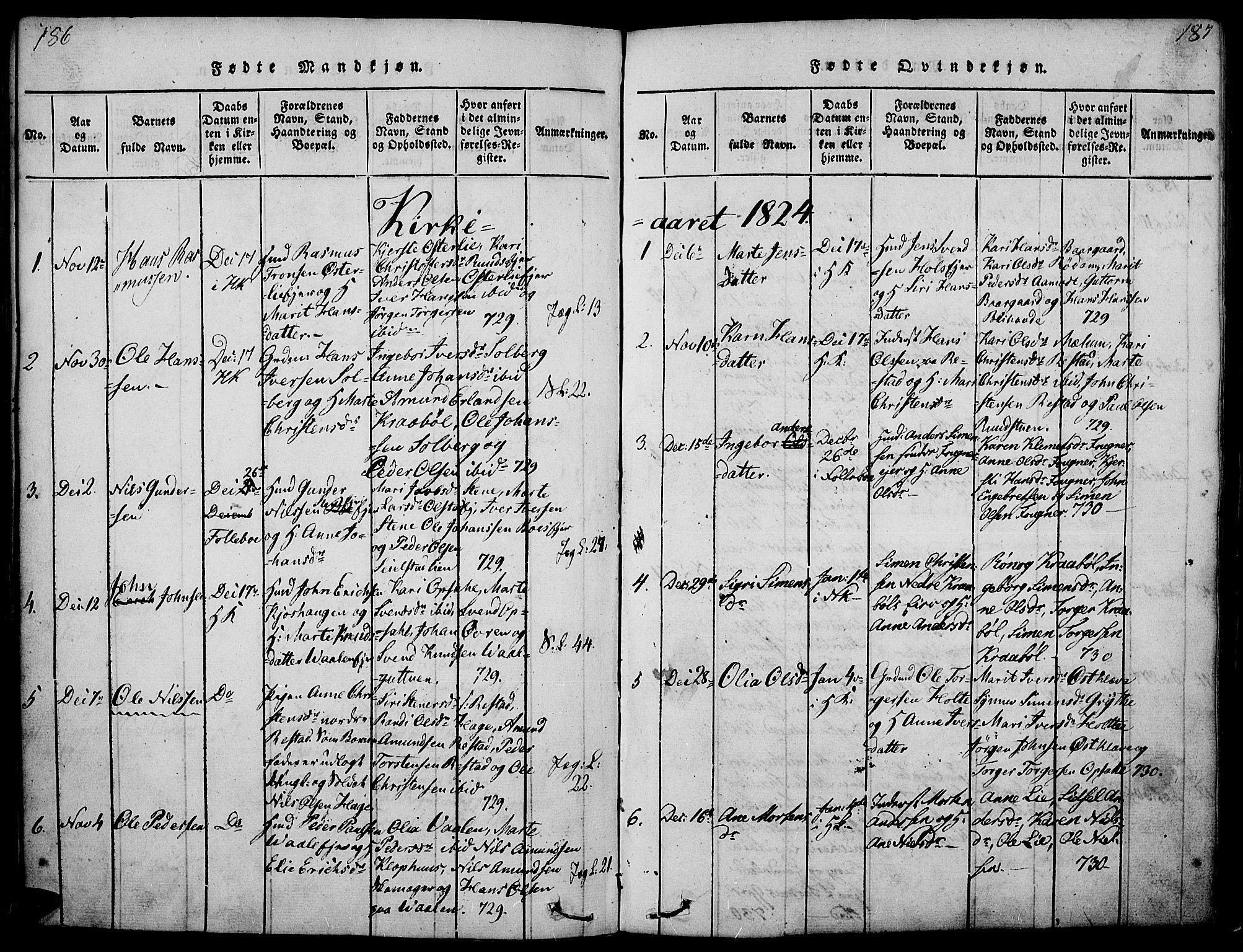 SAH, Gausdal prestekontor, Ministerialbok nr. 5, 1817-1829, s. 186-187