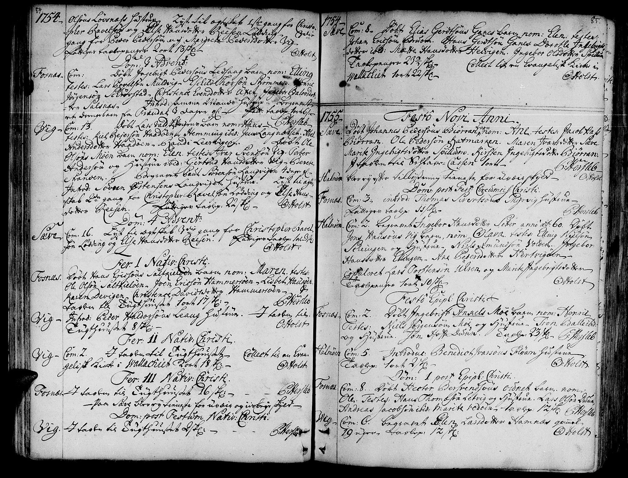 SAT, Ministerialprotokoller, klokkerbøker og fødselsregistre - Nord-Trøndelag, 773/L0607: Ministerialbok nr. 773A01, 1751-1783, s. 84-85