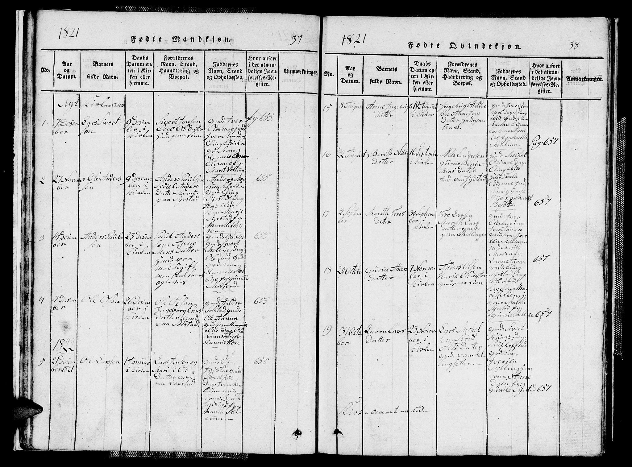 SAT, Ministerialprotokoller, klokkerbøker og fødselsregistre - Sør-Trøndelag, 667/L0796: Klokkerbok nr. 667C01, 1817-1836, s. 37-38
