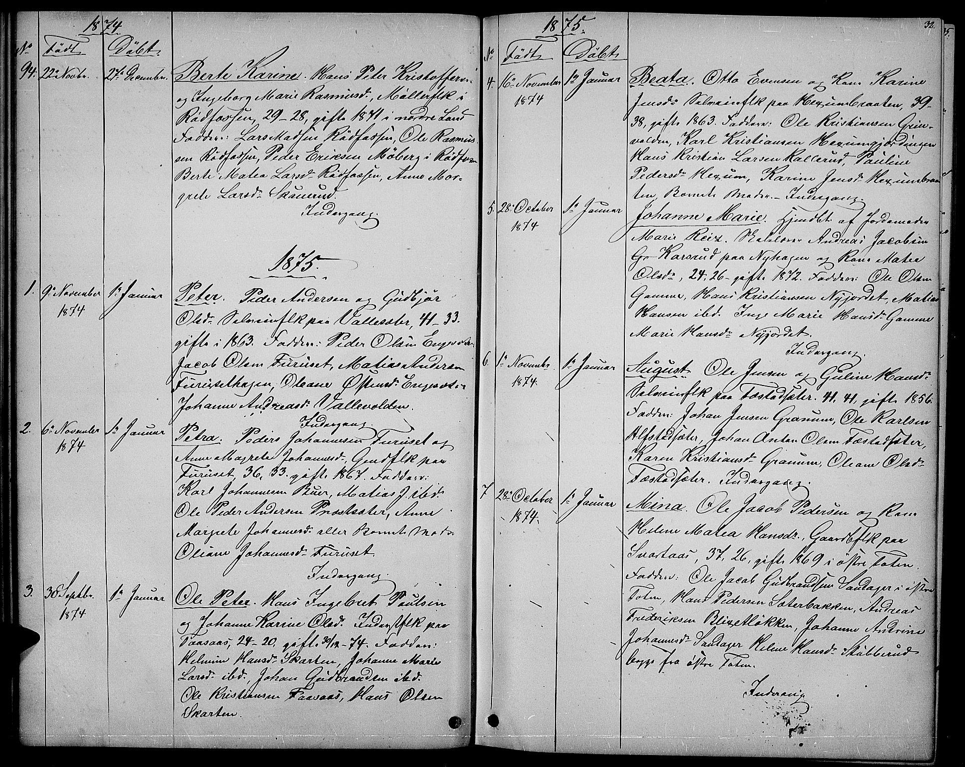 SAH, Vestre Toten prestekontor, Klokkerbok nr. 6, 1870-1887, s. 32