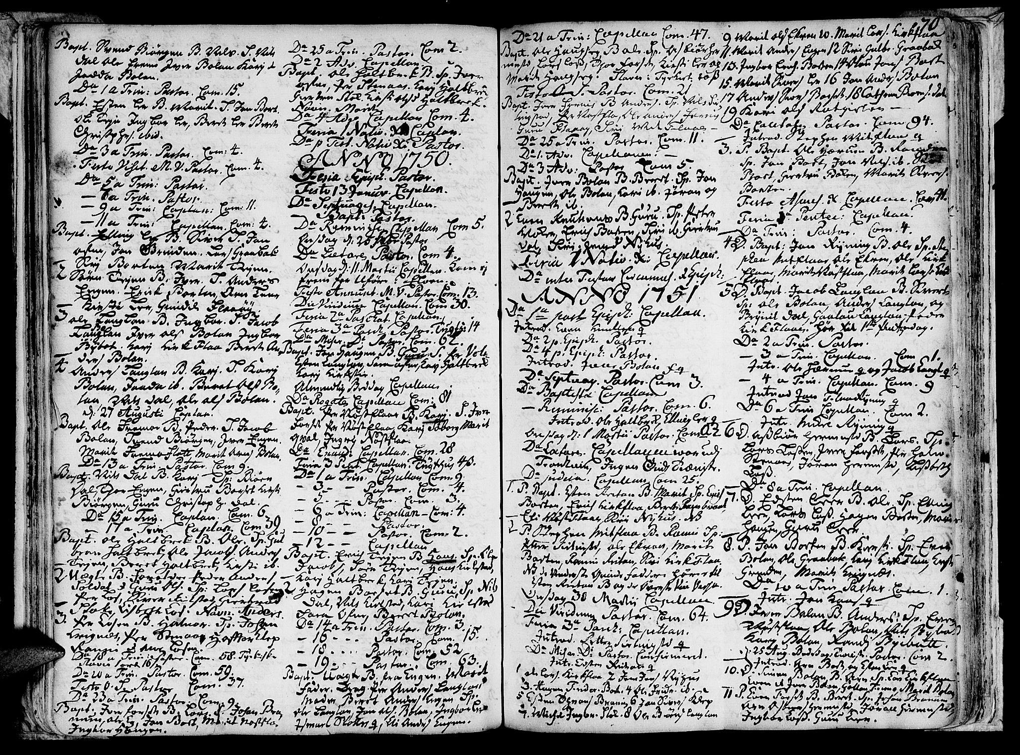 SAT, Ministerialprotokoller, klokkerbøker og fødselsregistre - Sør-Trøndelag, 691/L1058: Ministerialbok nr. 691A01 /2, 1740-1767, s. 70