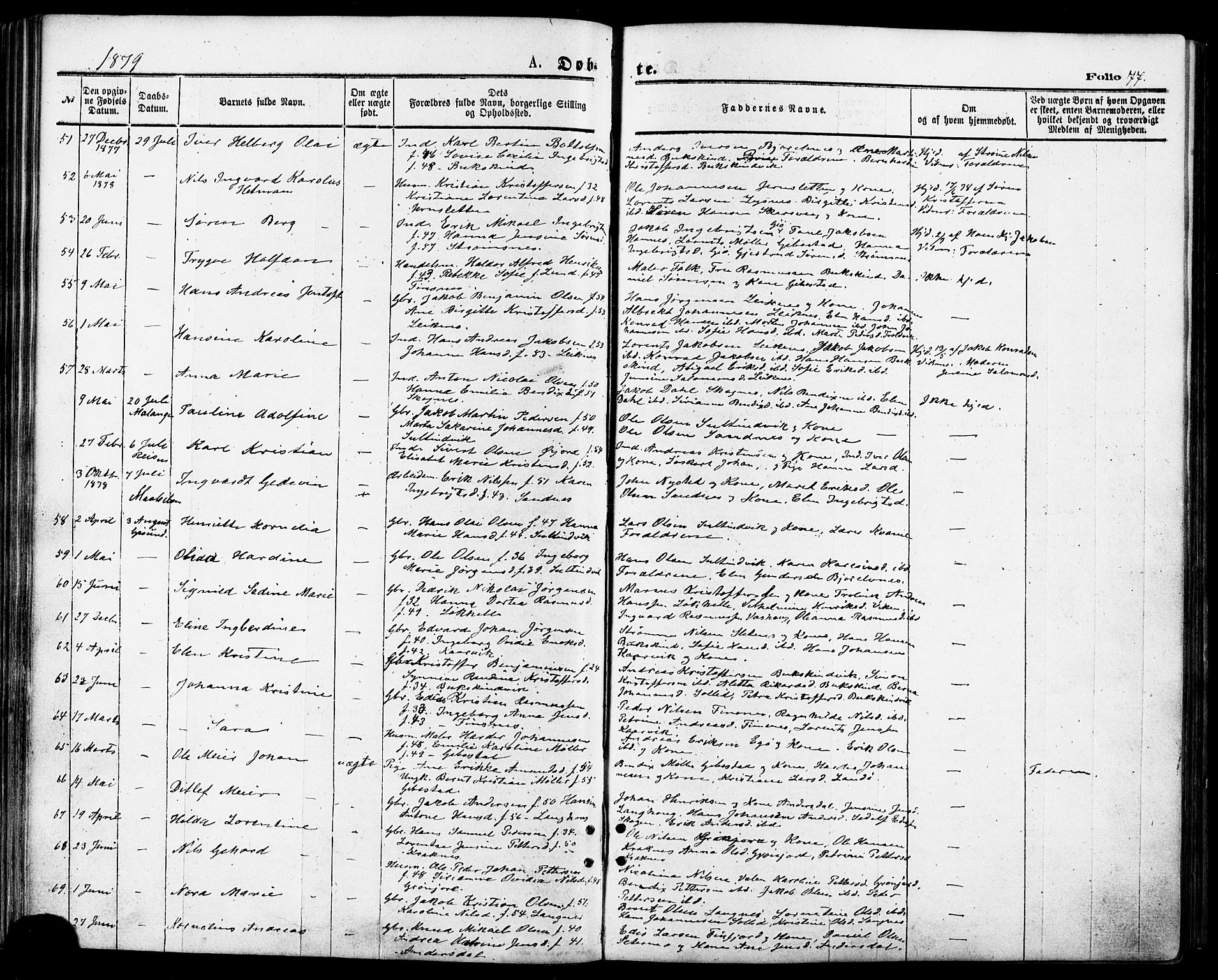 SATØ, Lenvik sokneprestembete, H/Ha: Ministerialbok nr. 10, 1873-1880, s. 77