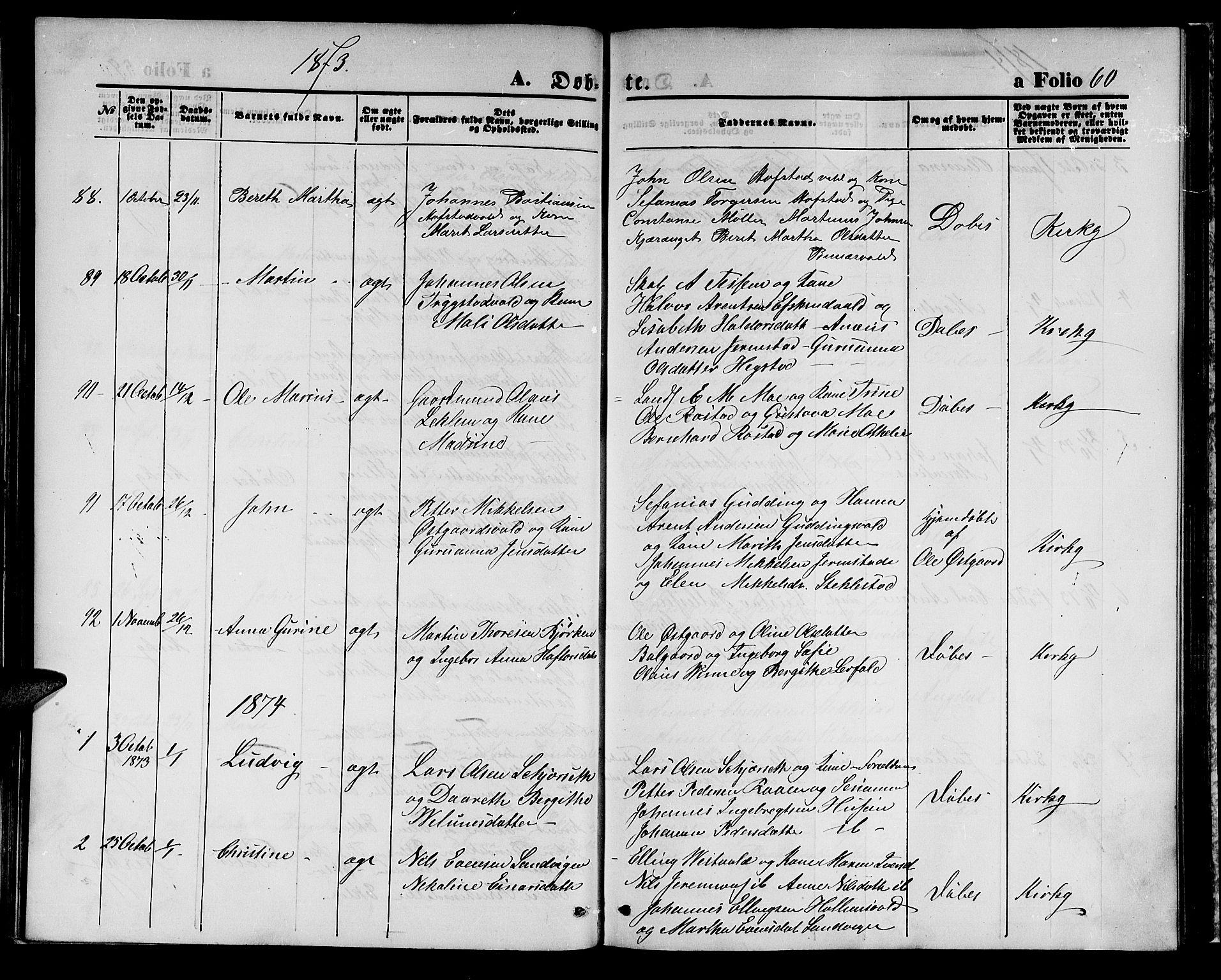 SAT, Ministerialprotokoller, klokkerbøker og fødselsregistre - Nord-Trøndelag, 723/L0255: Klokkerbok nr. 723C03, 1869-1879, s. 60