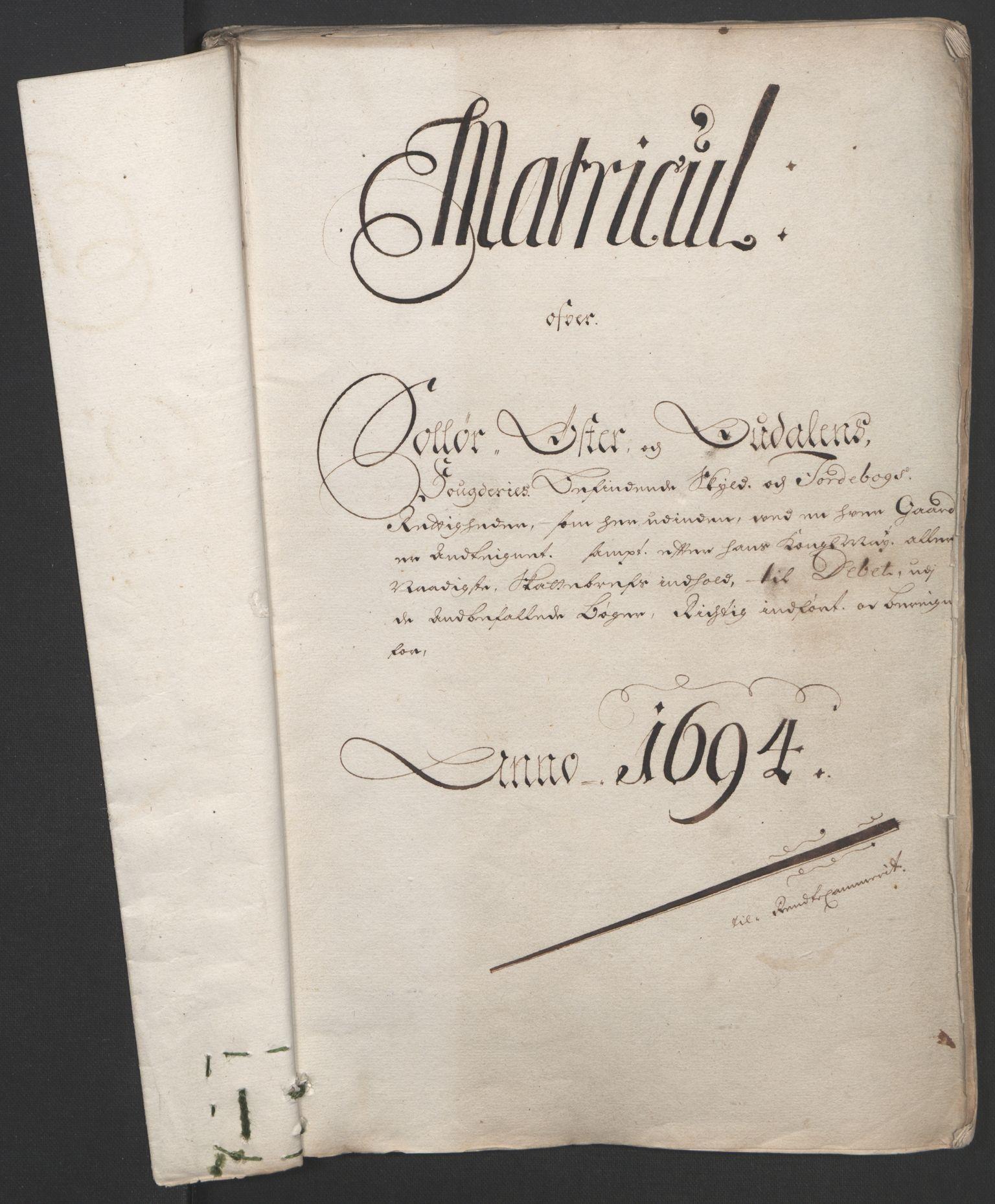 RA, Rentekammeret inntil 1814, Reviderte regnskaper, Fogderegnskap, R13/L0832: Fogderegnskap Solør, Odal og Østerdal, 1694, s. 22