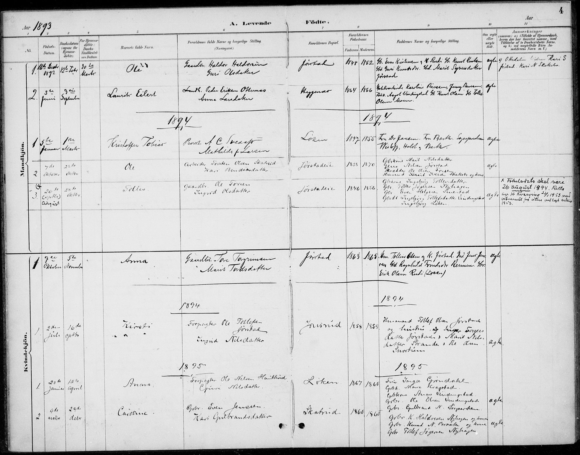 SAH, Øystre Slidre prestekontor, Ministerialbok nr. 5, 1887-1916, s. 4