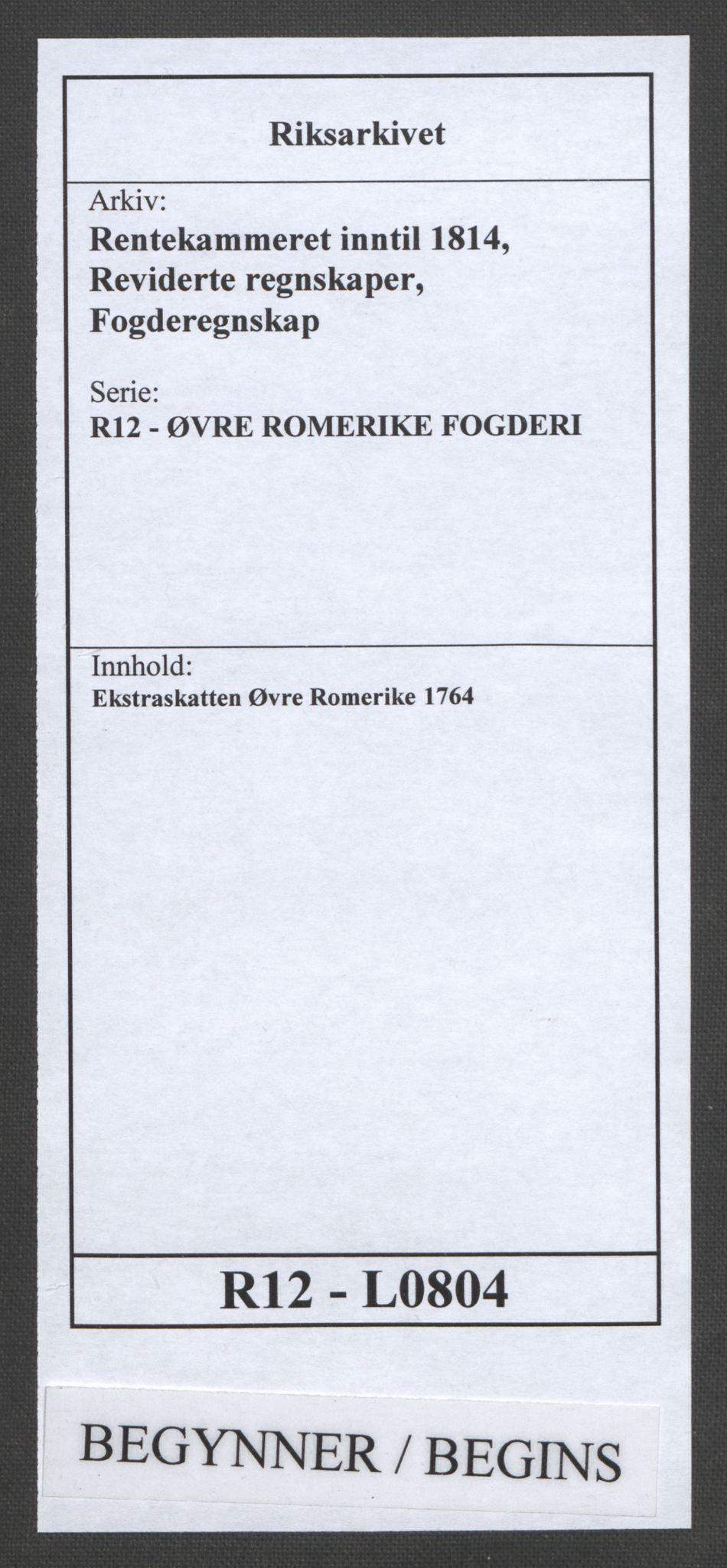 RA, Rentekammeret inntil 1814, Reviderte regnskaper, Fogderegnskap, R12/L0804: Ekstraskatten Øvre Romerike, 1764, s. 1