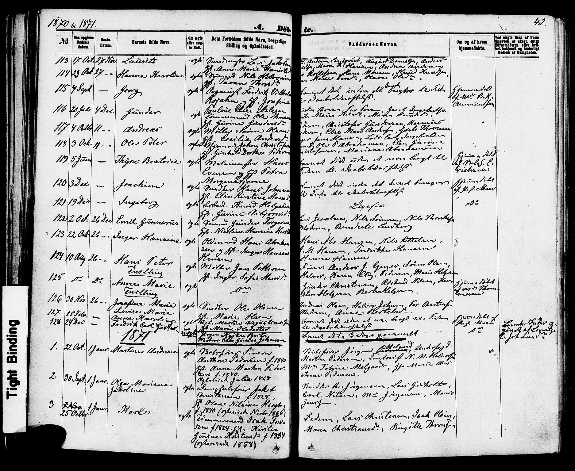 SAKO, Skien kirkebøker, F/Fa/L0008: Ministerialbok nr. 8, 1866-1877, s. 42