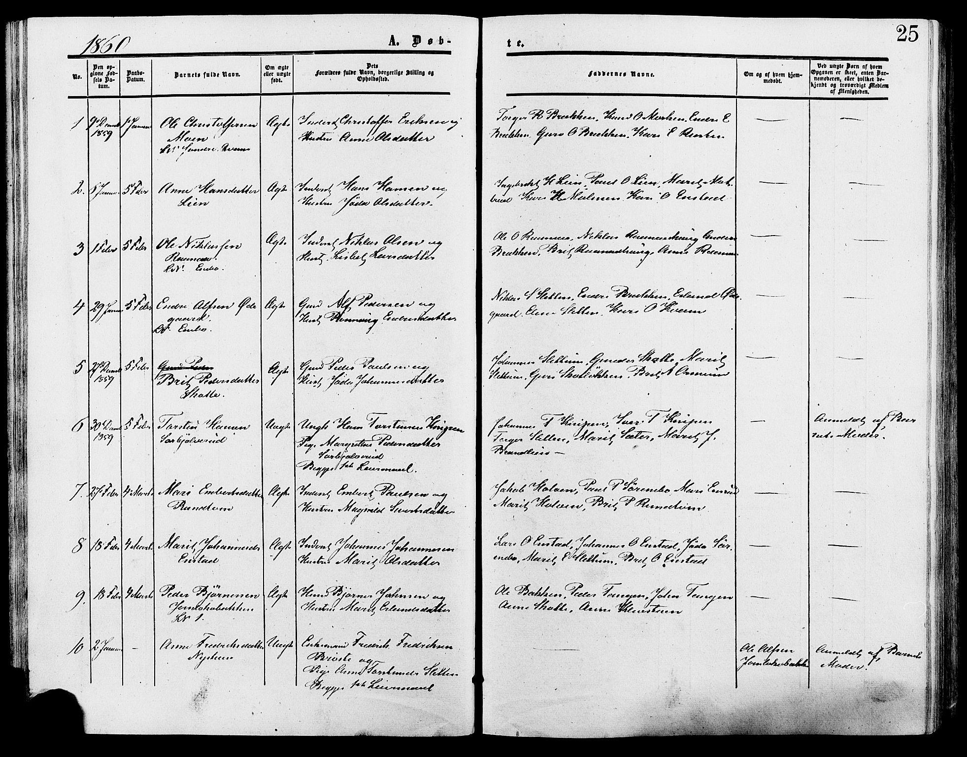 SAH, Lesja prestekontor, Ministerialbok nr. 9, 1854-1889, s. 25