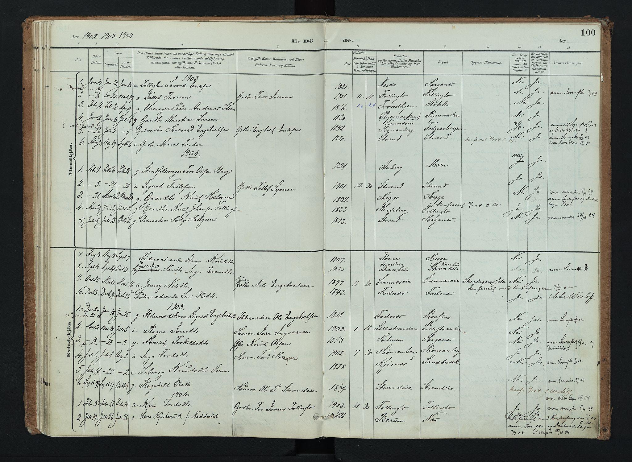 SAH, Nord-Aurdal prestekontor, Ministerialbok nr. 16, 1897-1925, s. 100