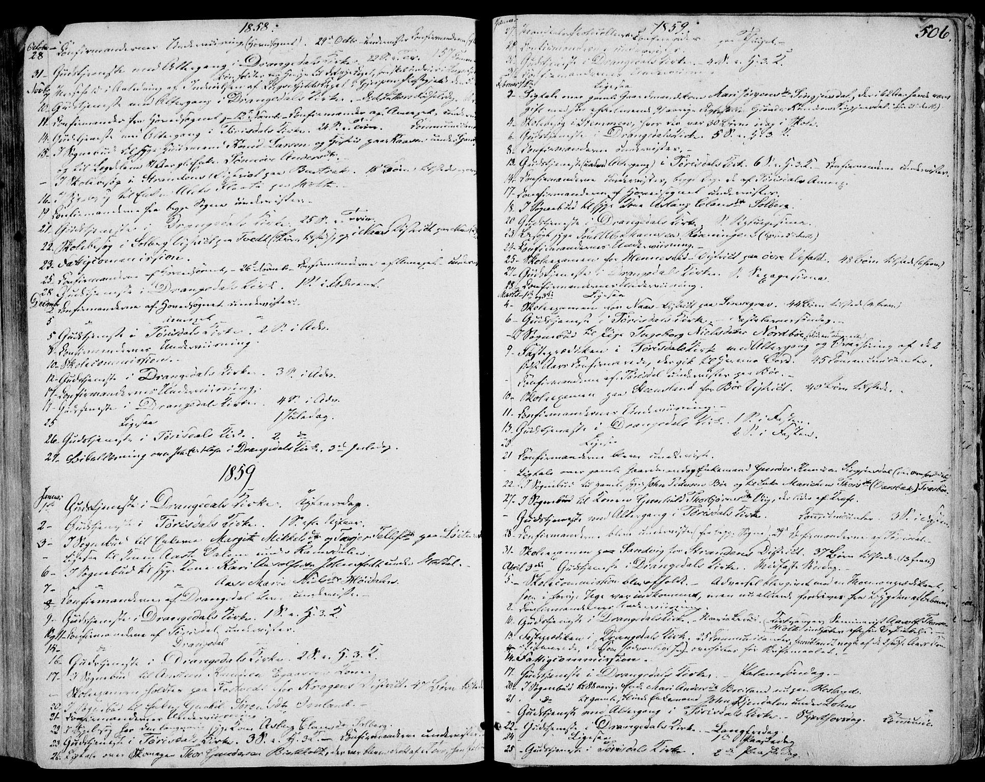 SAKO, Drangedal kirkebøker, F/Fa/L0008: Ministerialbok nr. 8, 1857-1871, s. 506