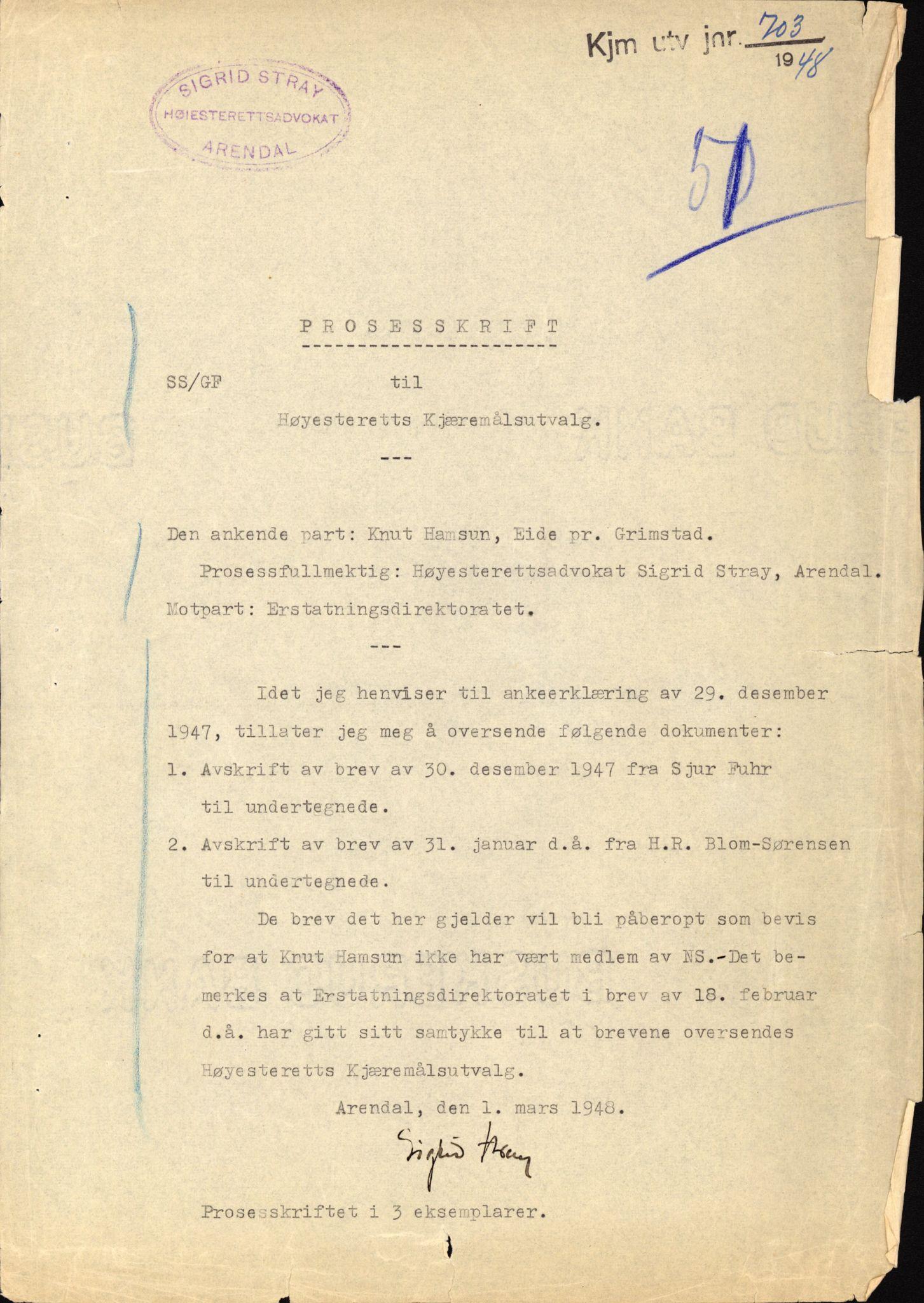 RA, Landssvikarkivet, Arendal politikammer, D/Dc/L0029: Anr. 192/45, 1945-1951, s. 583