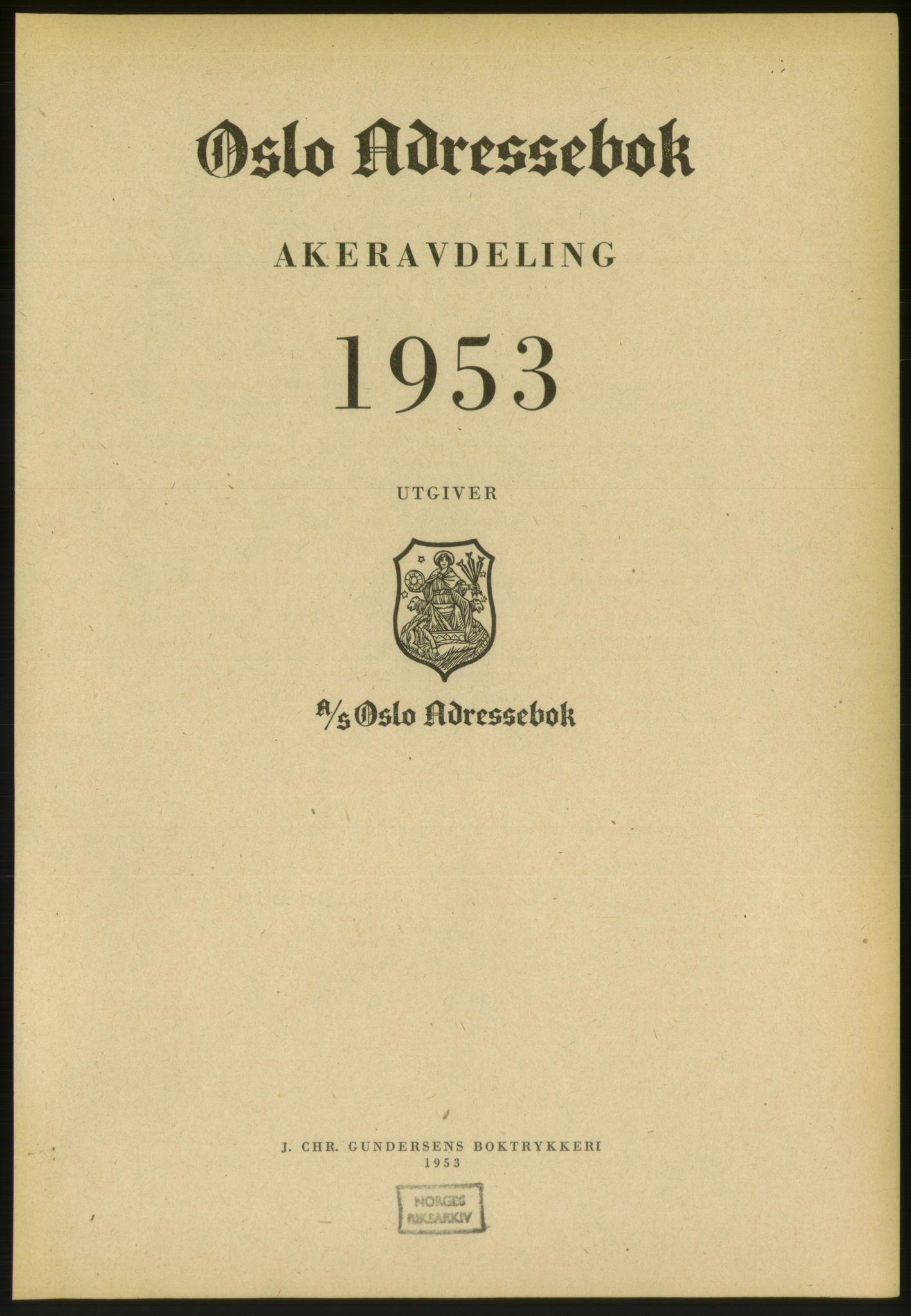 PUBL, Kristiania/Oslo adressebok, 1953