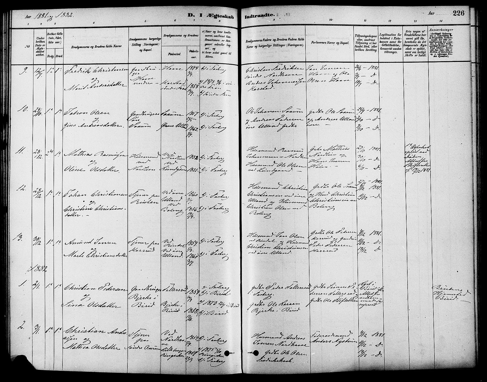 SAH, Fåberg prestekontor, Ministerialbok nr. 8, 1879-1898, s. 226