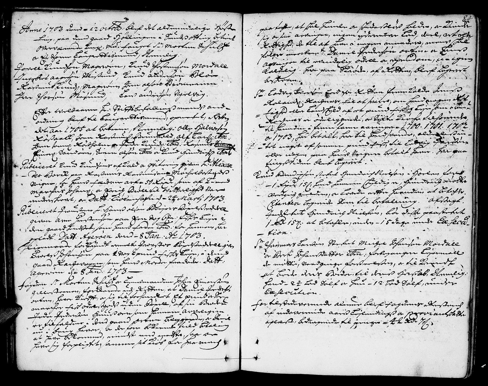 SAT, Romsdal sorenskriveri, 1/1A/L0004: Tingbok, 1700-1705, s. 83b-84a