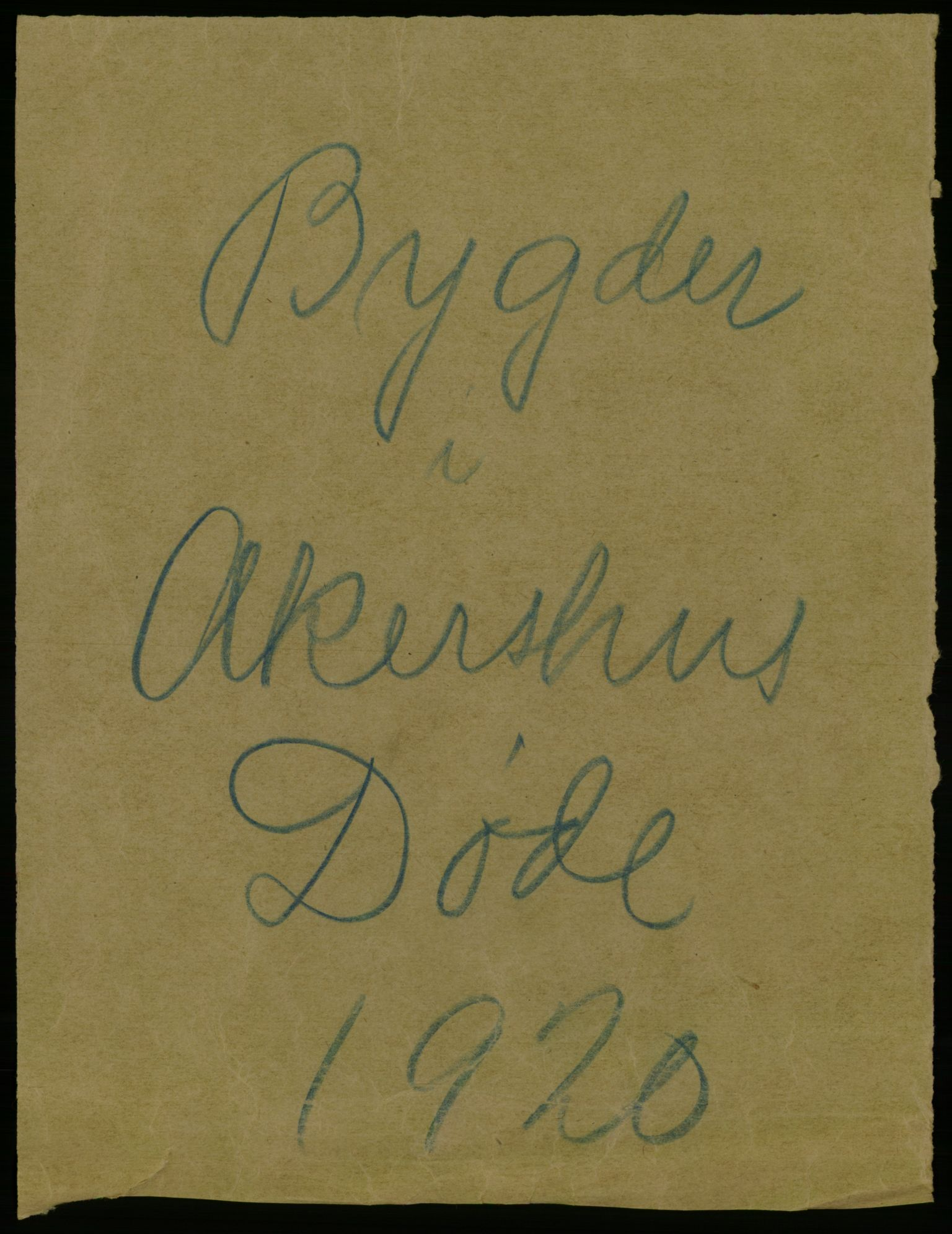 RA, Statistisk sentralbyrå, Sosiodemografiske emner, Befolkning, D/Df/Dfb/Dfbj/L0007: Akershus fylke: Døde. Bygder og byer., 1920