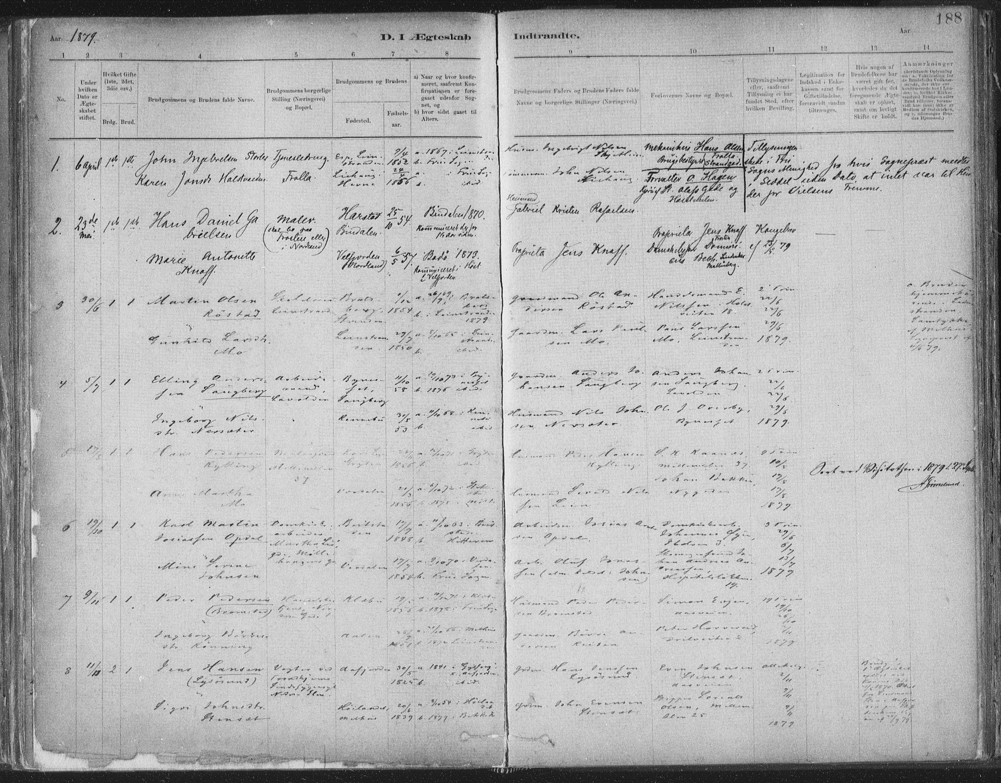 SAT, Ministerialprotokoller, klokkerbøker og fødselsregistre - Sør-Trøndelag, 603/L0162: Ministerialbok nr. 603A01, 1879-1895, s. 188